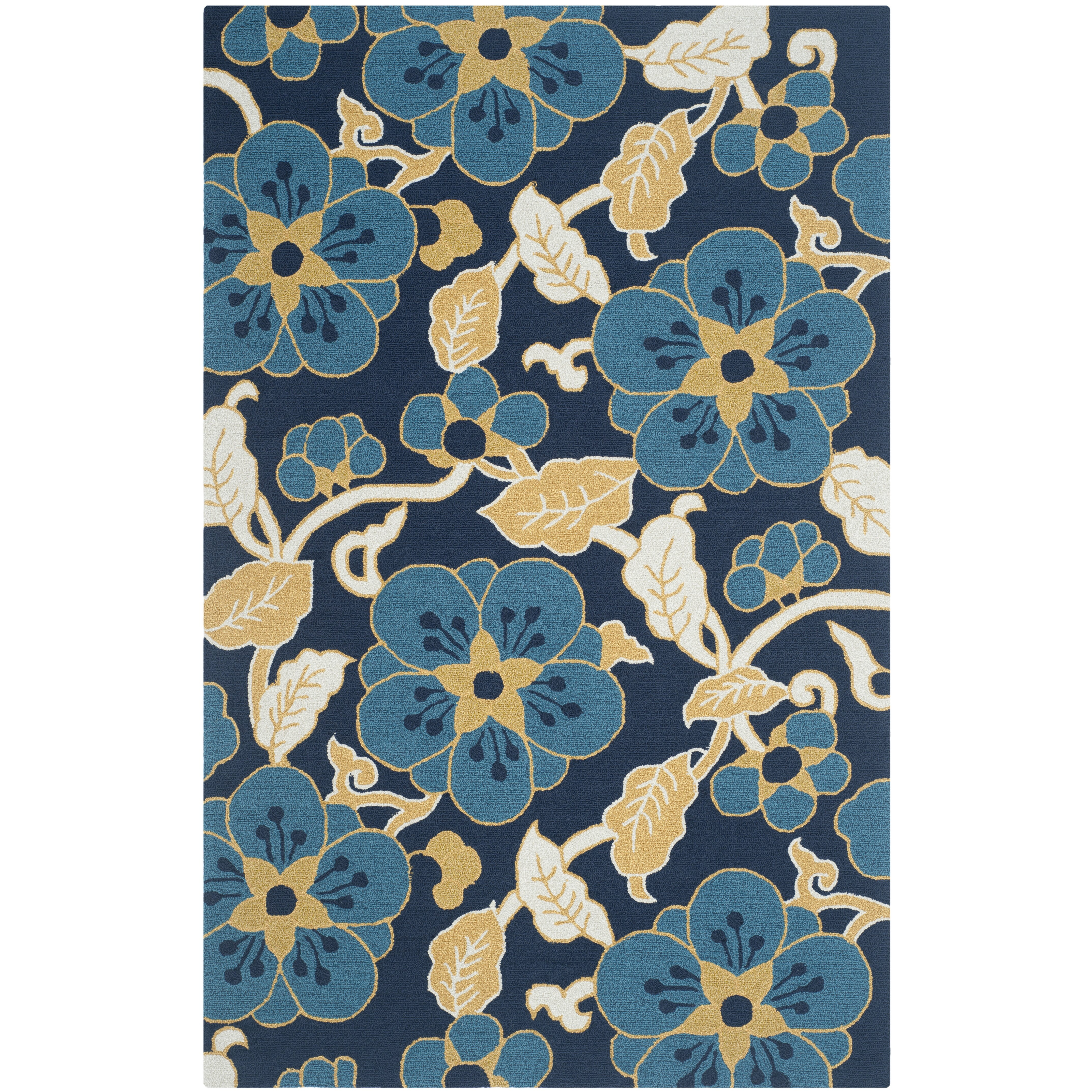 Safavieh Four Seasons Navy/Yellow Floral And Plant Area