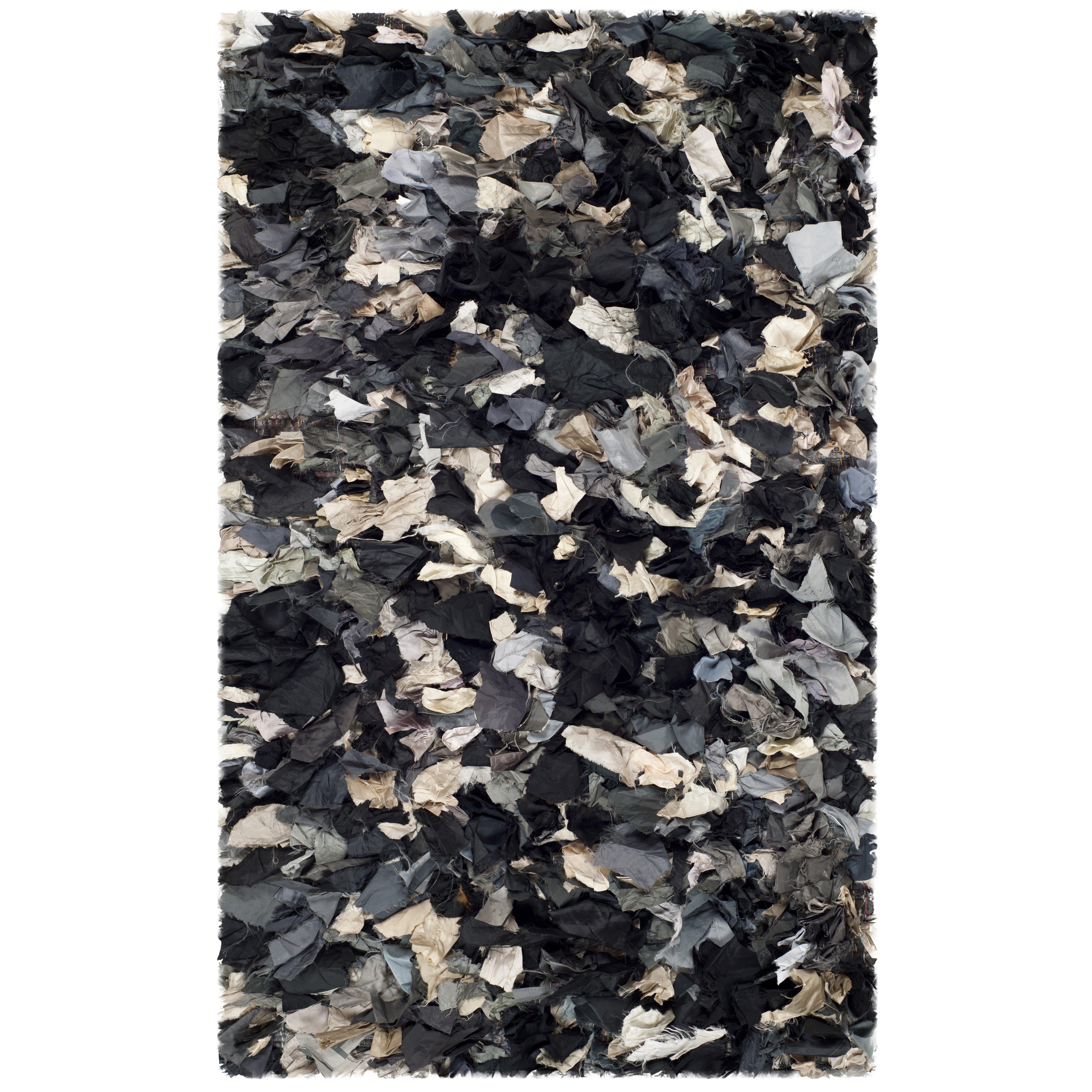 Black And Grey Rugs: Safavieh Shag Black & Gray Area Rug & Reviews