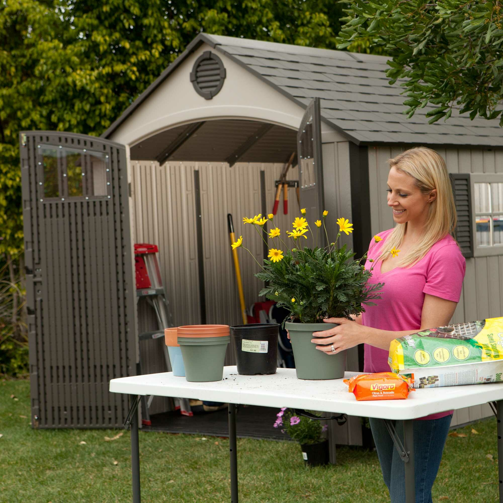 Lifetime Premium 8 Ft. W x 10 Ft. D Plastic Garden Shed & Reviews