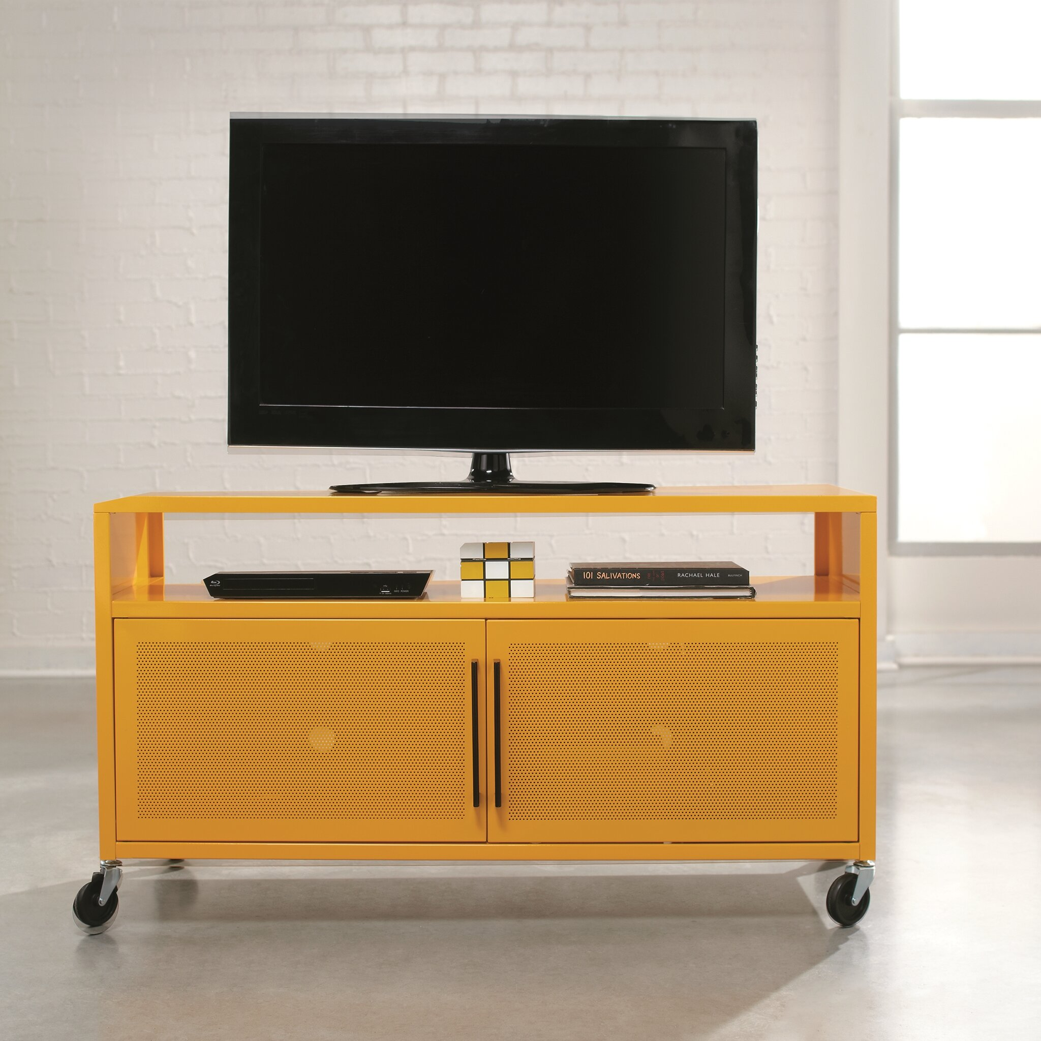 sauder soft modern tv stand in yellow reviews wayfair. Black Bedroom Furniture Sets. Home Design Ideas