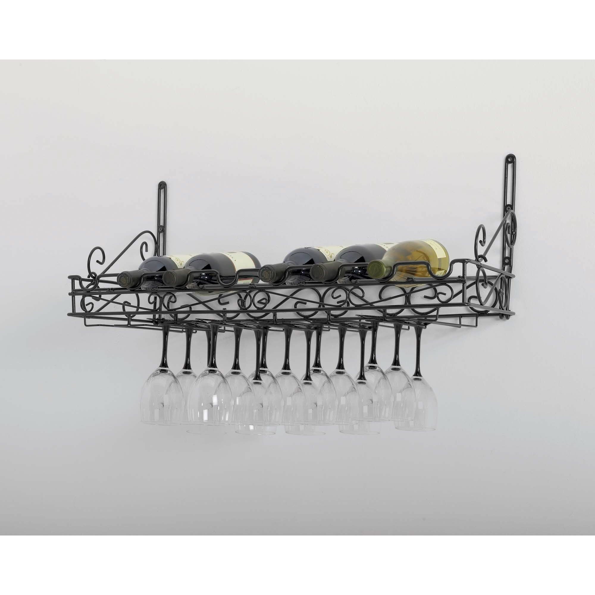 Concept Housewares 8 Bottle Wall Mounted Wine Glass Rack