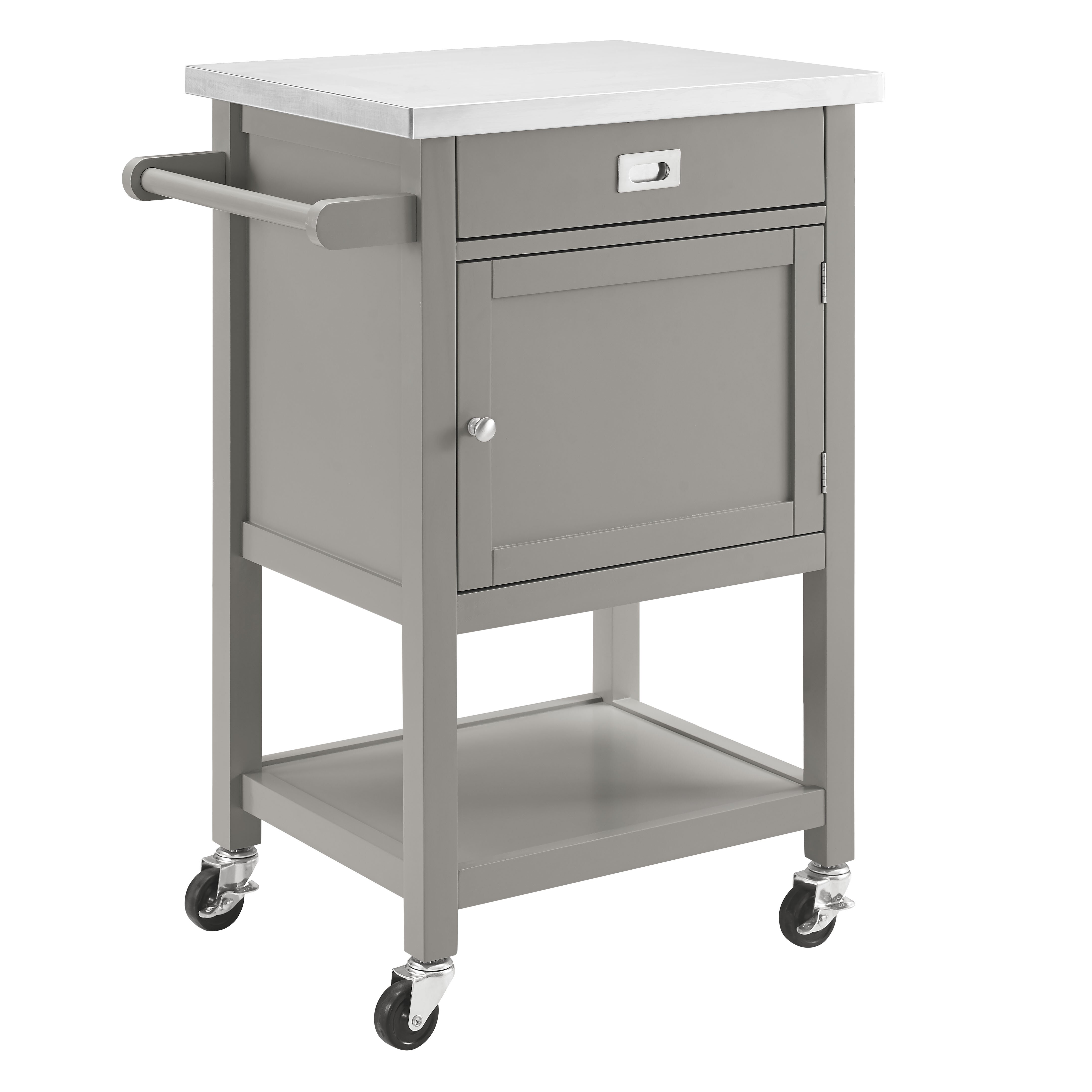 sydney kitchen cart with stainless steel top wayfair columbus kitchen cart with stainless steel top gray tms