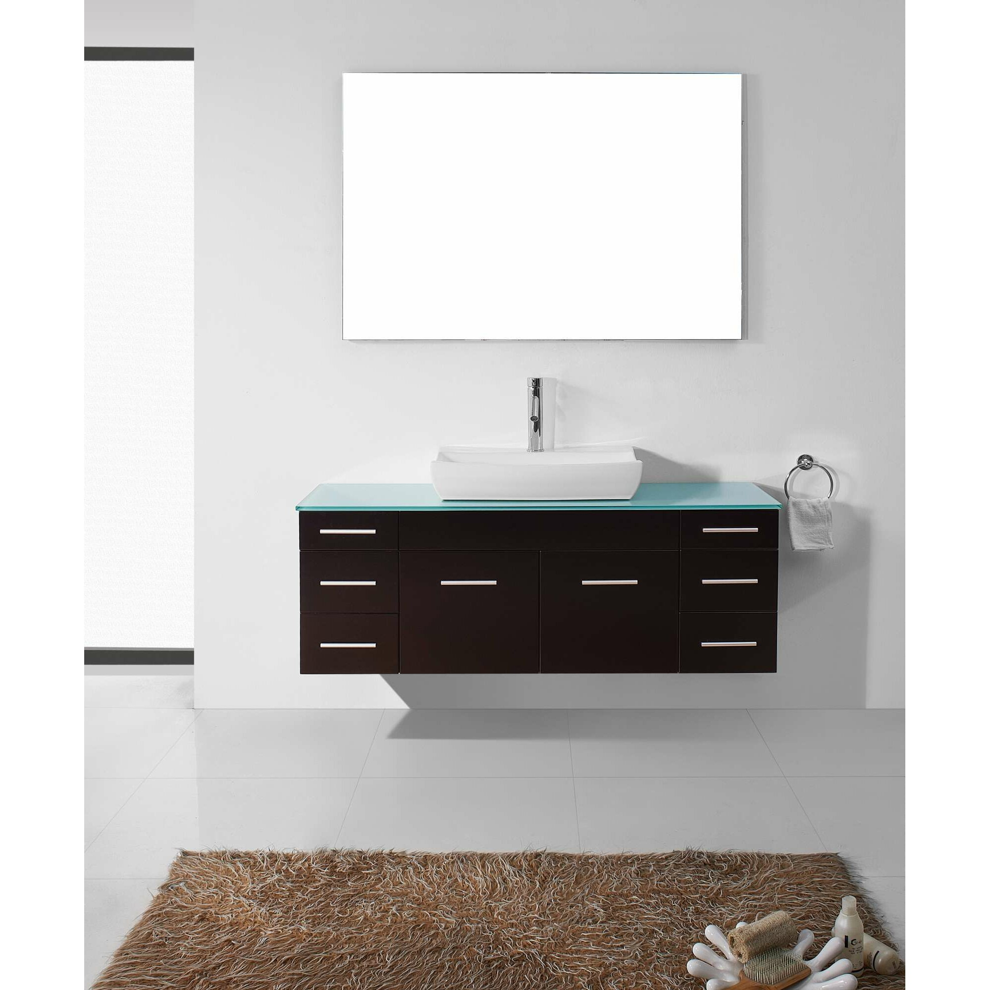Virtu Biagio 56quot; Single Bathroom Vanity Set with Mirror amp; Reviews