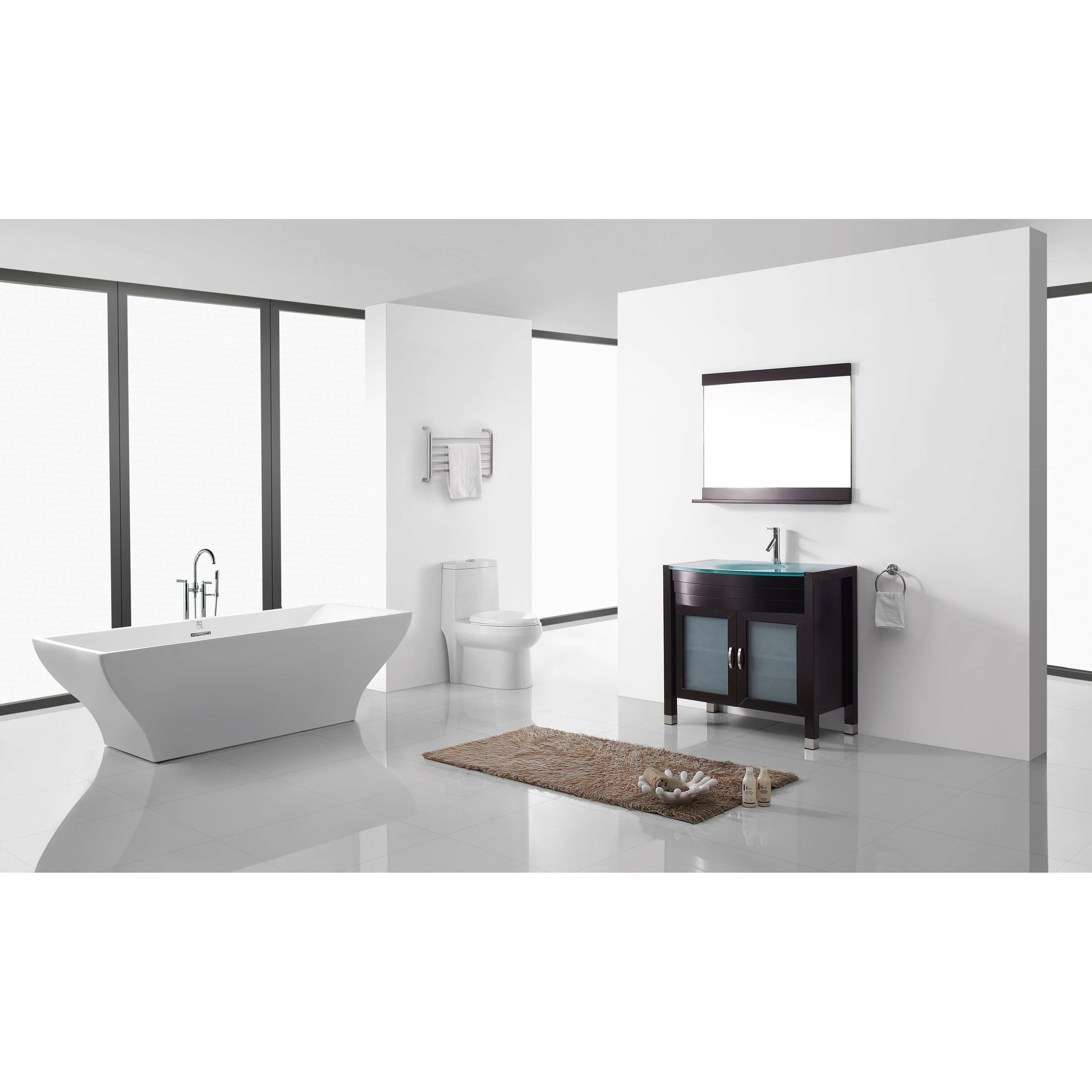Brilliant Ultra Modern Series 59quot Single Bathroom Vanity Set With Mirror By