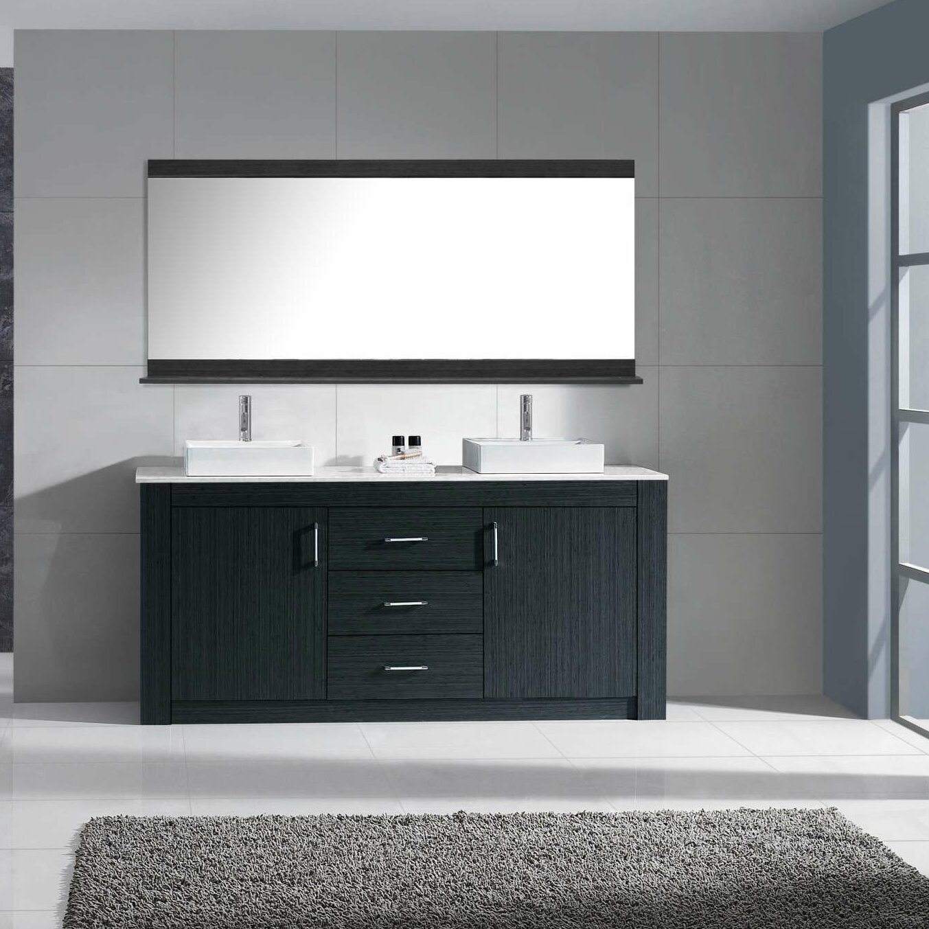 Tavian 60 Double Bathroom Vanity Cabi  Set With Mirror KD 90060 S GR VTU2270 on kd kitchens and bath