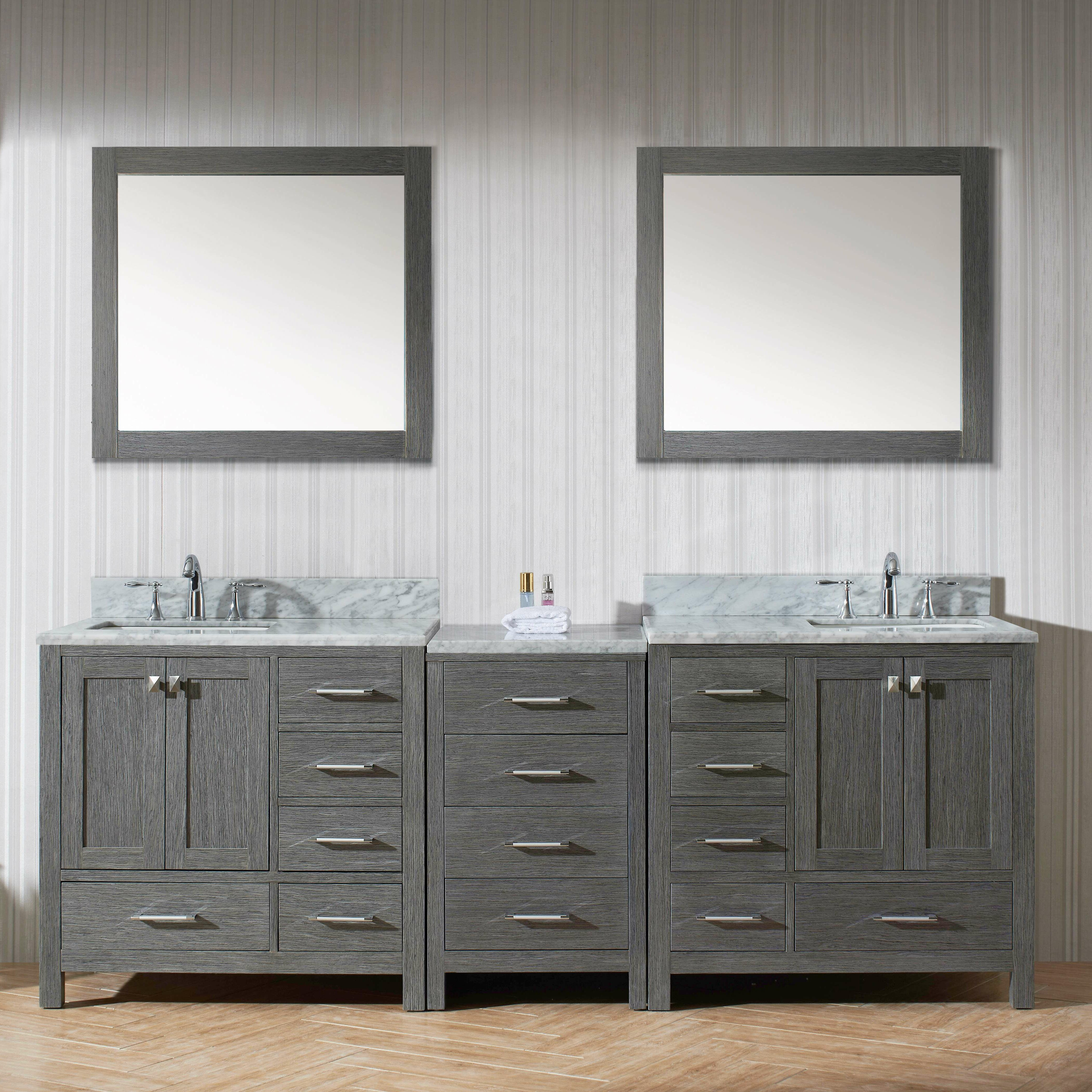 Caroline 90 Double Bathroom Vanity Cabinet Set With Mirror Wayfair
