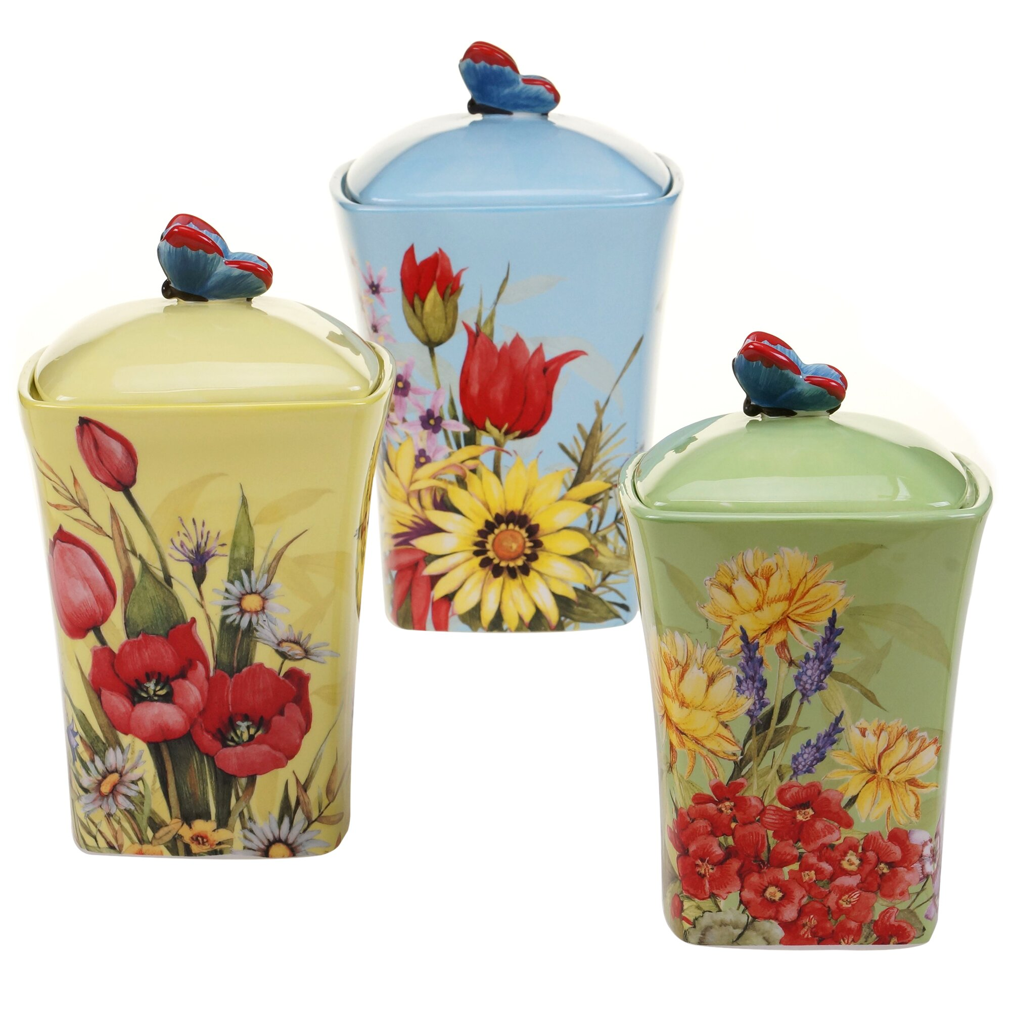 certified international floral bouquet 3 piece canister