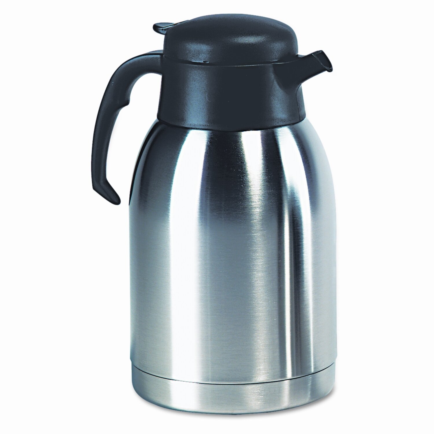 Stainless steel lined vacuum carafe 1 9 liter satin finish black trim wayfair - Carafe verre 2 litres ...