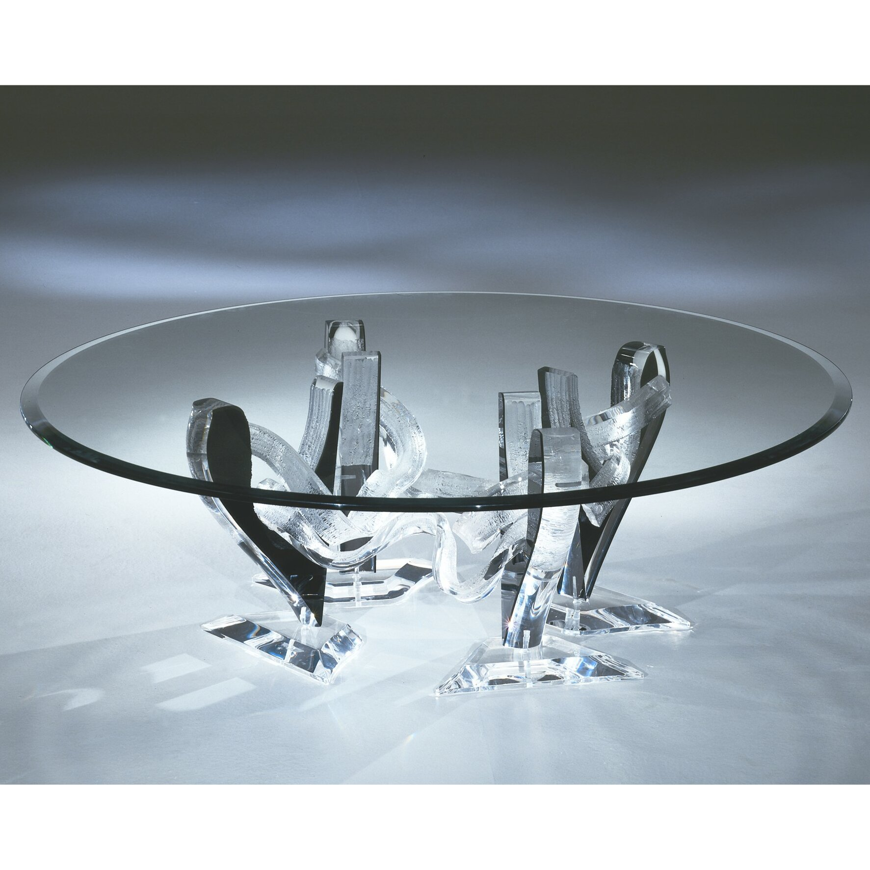 """Snake 48"""" Round Coffee Table With 3/4"""" Thick Glass"""
