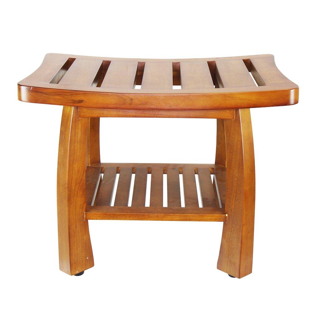 Oceanstar Design Solid Wood Spa Shower Bench With Storage Shelf Reviews Wayfair