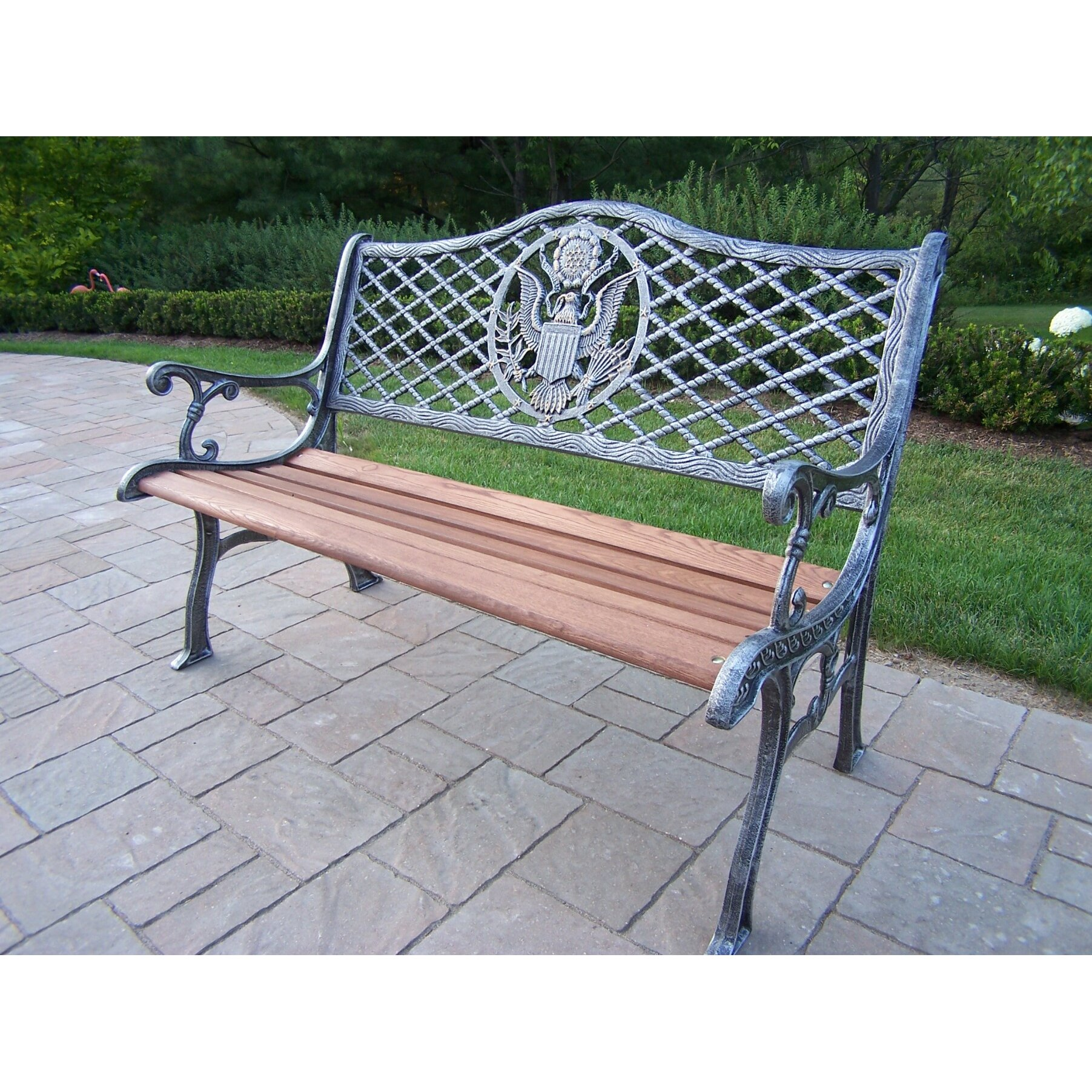 American eagle cast iron and wood garden bench wayfair - Wood and iron garden bench ...