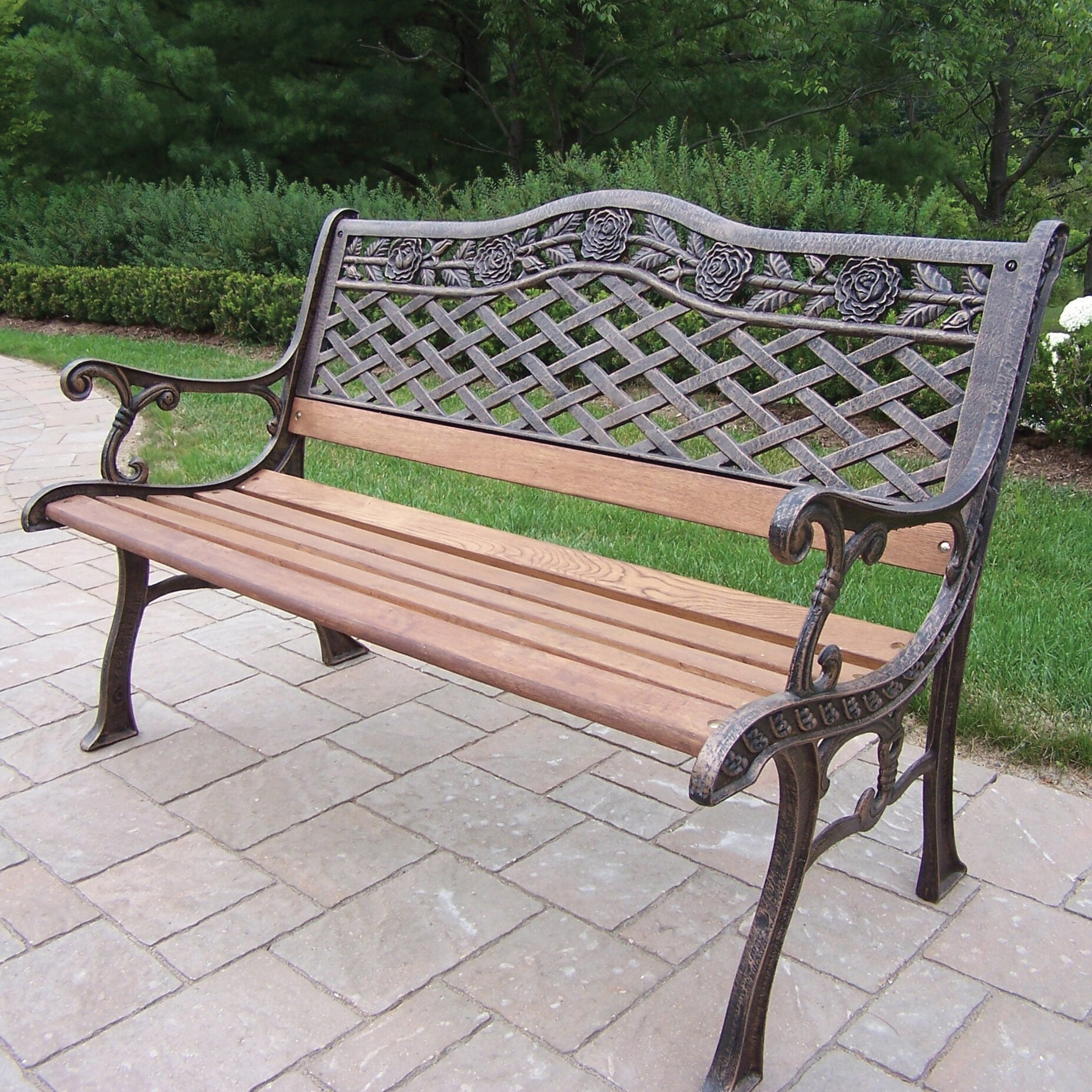 Oakland living tea rose wood and cast iron park bench - Wood and iron garden bench ...