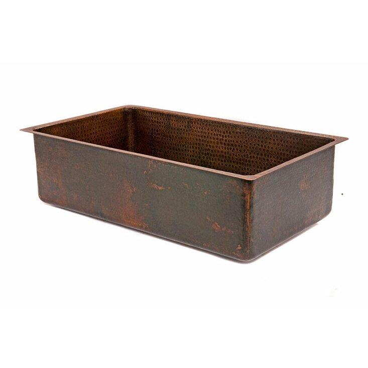"""Kitchen Sink 19 X 33: 33"""" X 19"""" Hammered Single Bowl Kitchen Sink"""