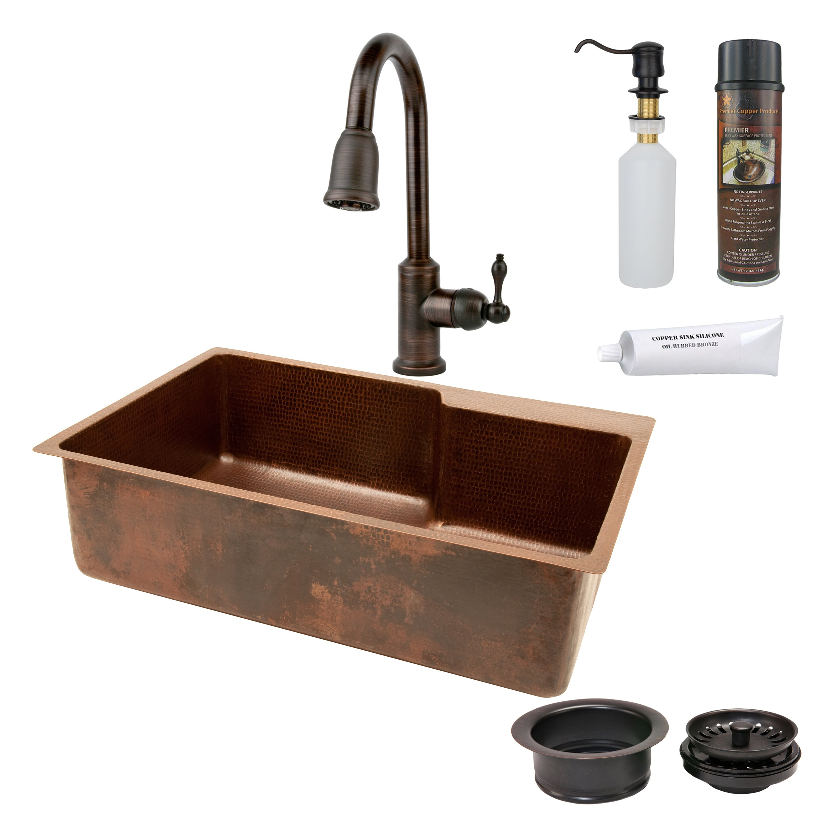 "33"" X 22"" Hammered Single Basin Kitchen Sink With Faucet"