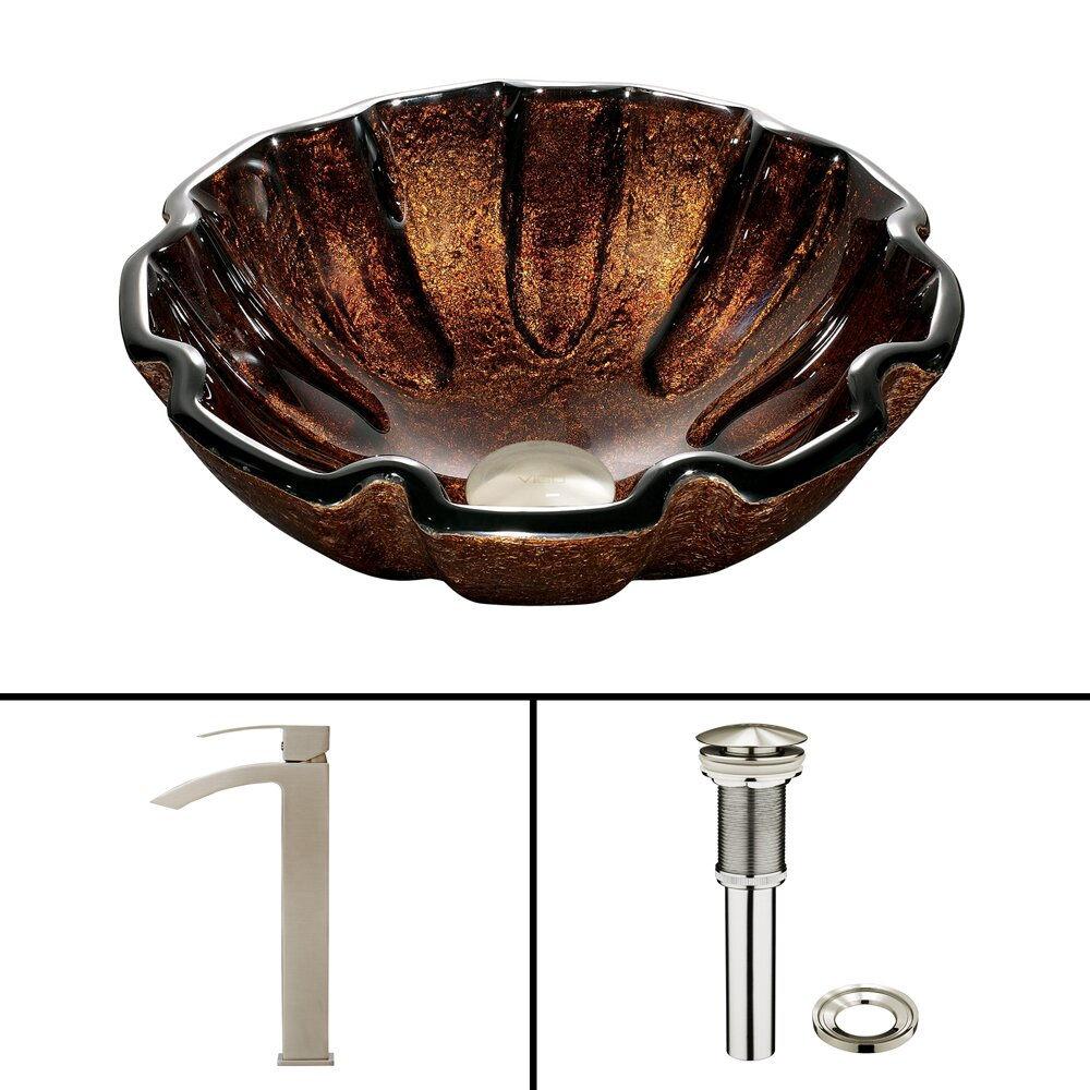 Shell Bathroom Sink : Vigo Walnut Shell Glass Vessel Bathroom Sink and Duris Vessel Faucet ...