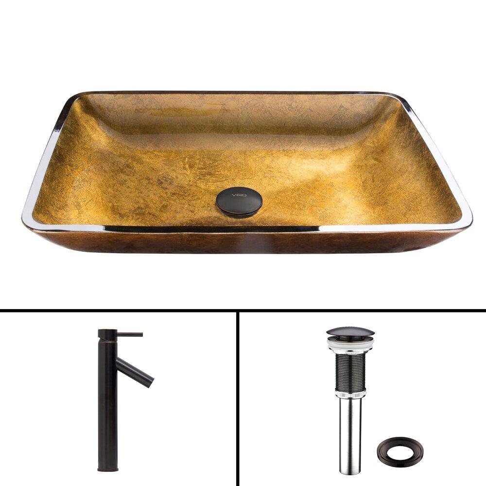 Rectangular Copper Glass Vessel Bathroom Sink And Dior Vessel Faucet With Pop Up Wayfair