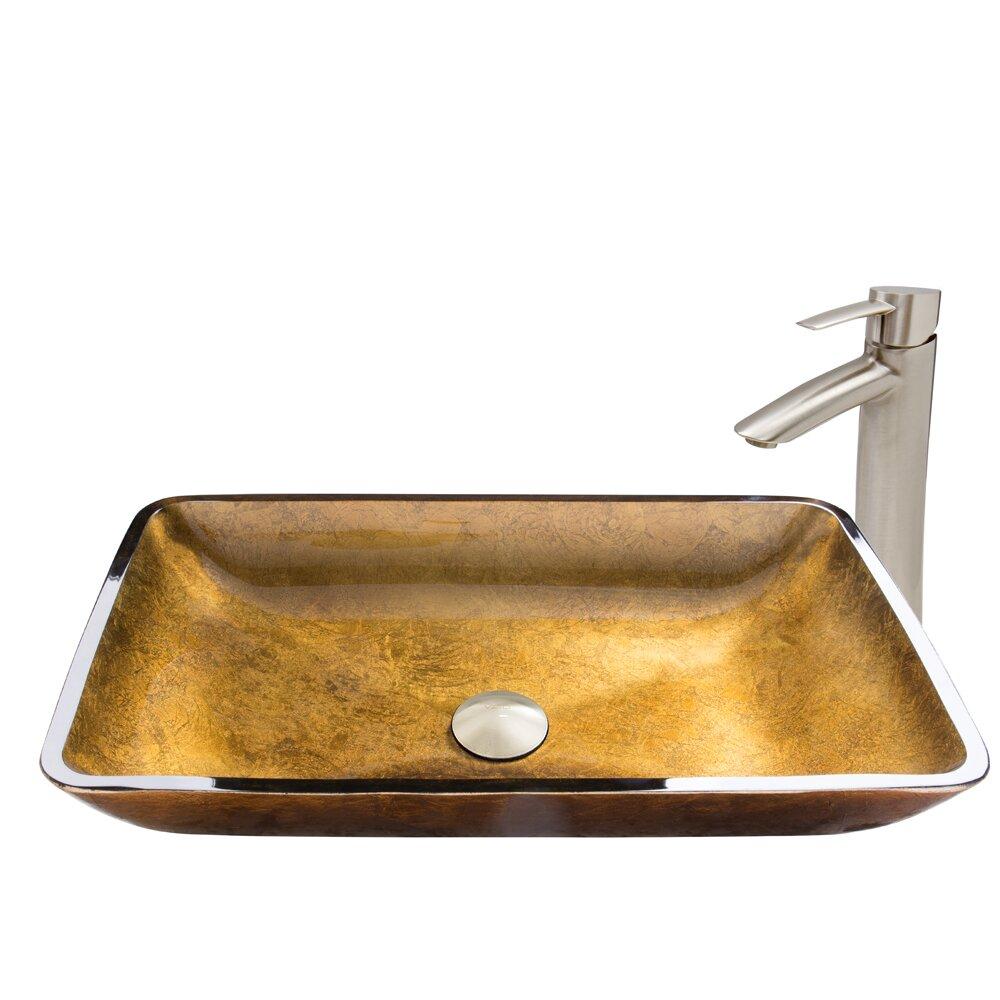 Rectangular Copper Glass Vessel Bathroom Sink And Shadow