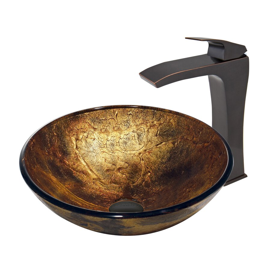 Copper Shapes Glass Vessel Bathroom Sink and Blackstonian