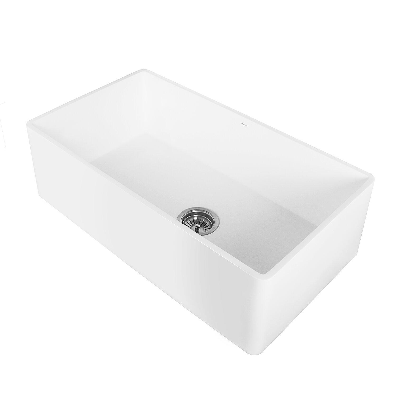 Stone Apron Sink : 30 inch Farmhouse Apron Single Bowl Matte Stone Kitchen Sink by Vigo