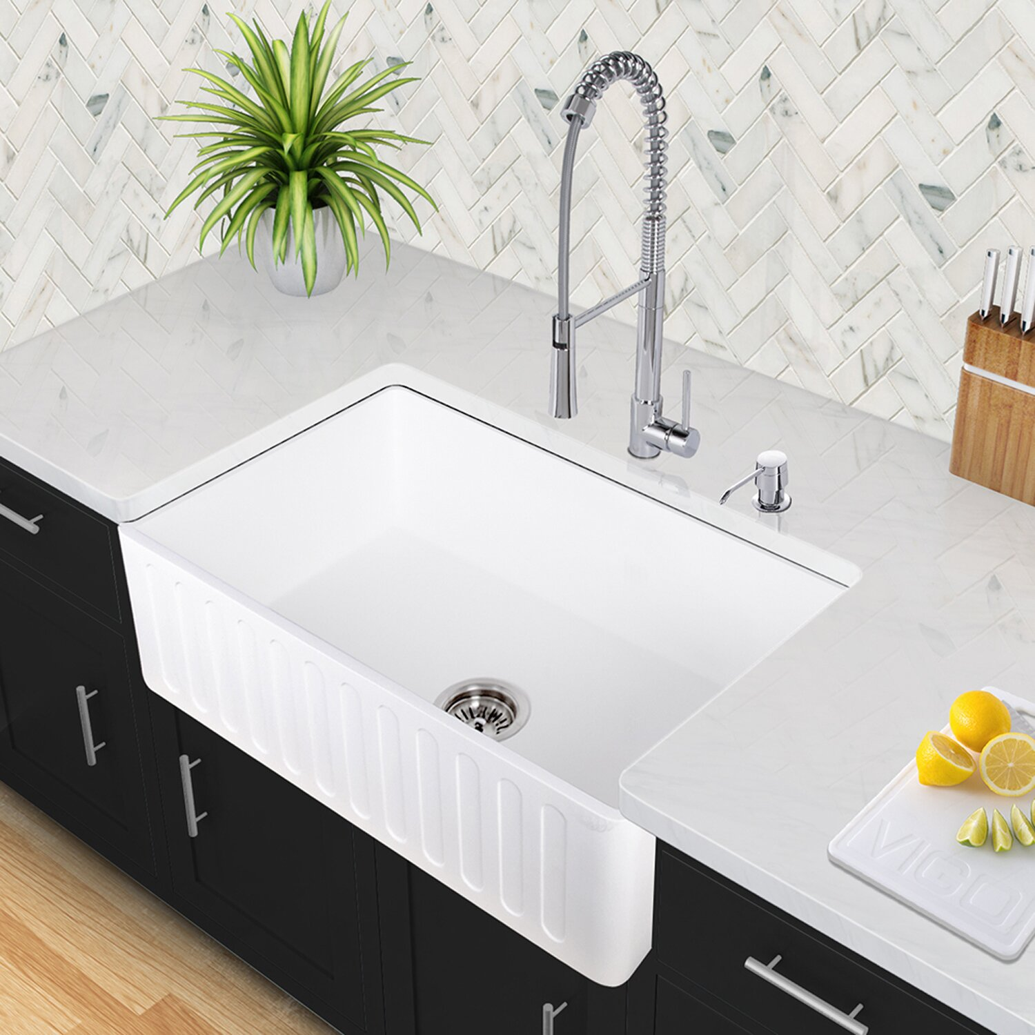 36 Inch Farm Sink : Vigo 36 inch Farmhouse Apron Single Bowl Matte Stone Kitchen Sink ...