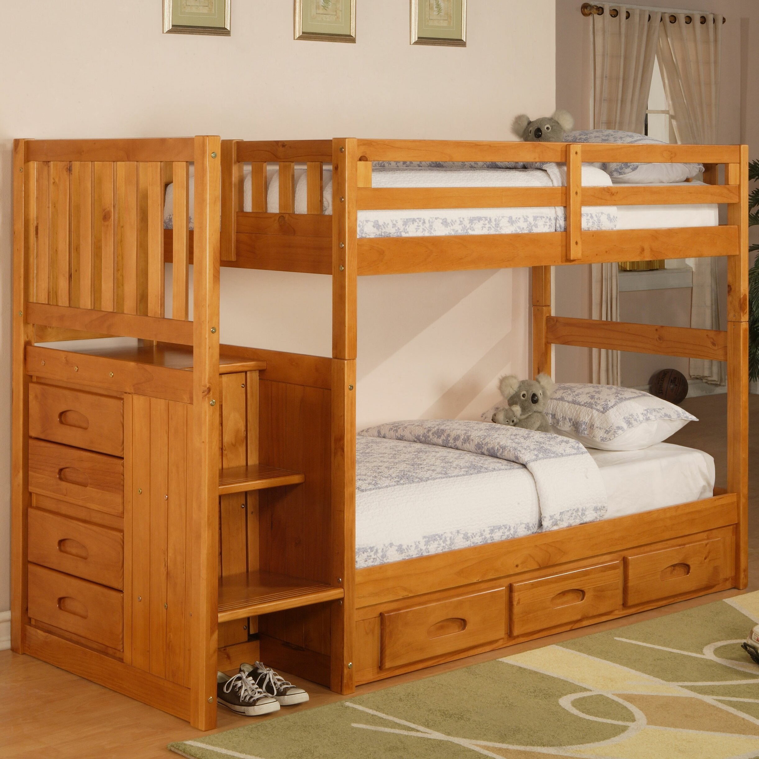 discovery world furniture weston twin over twin bunk bed with stairs and storage reviews wayfair. Black Bedroom Furniture Sets. Home Design Ideas