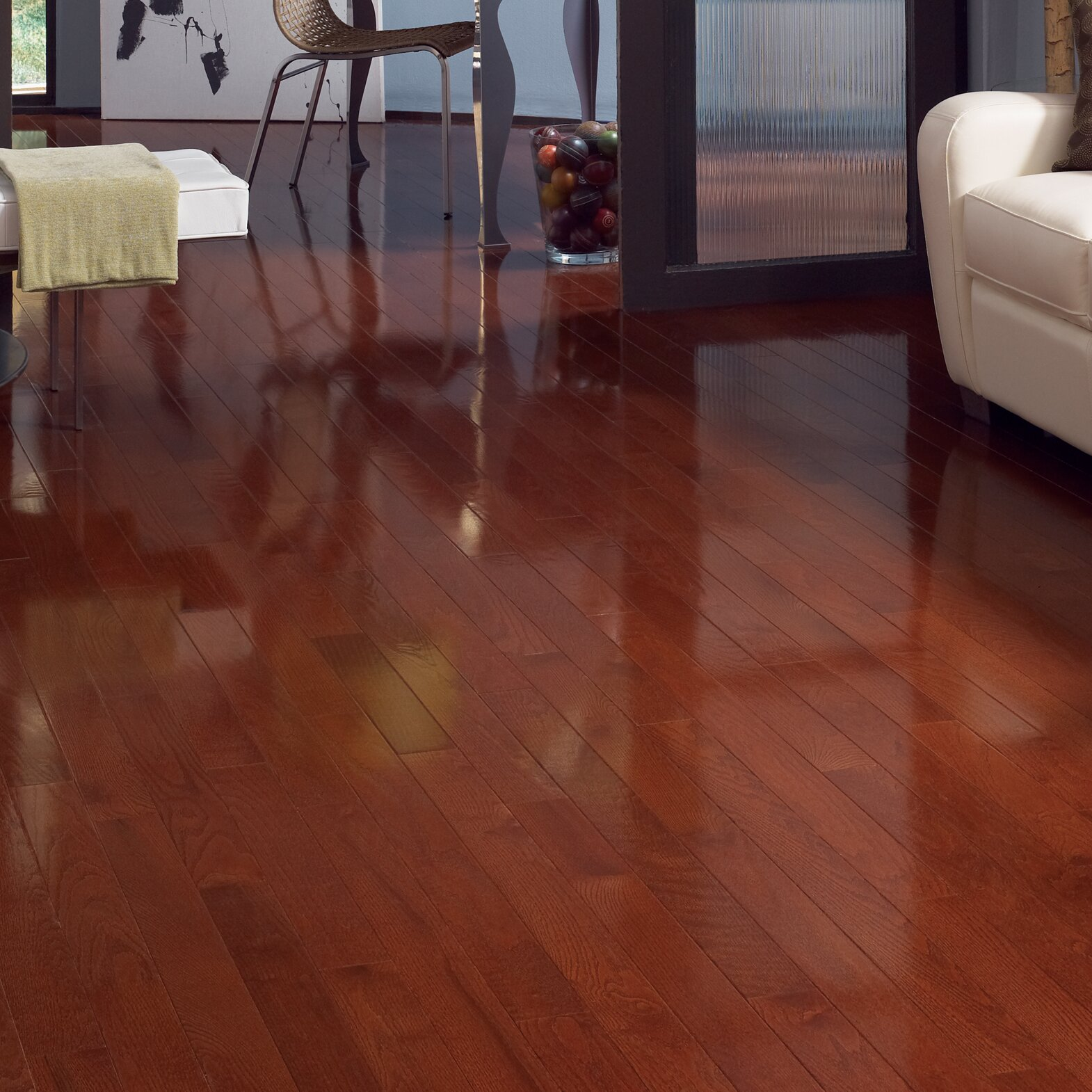 High Gloss 3 1 4 Quot Engineered Red Oak Hardwood Flooring In