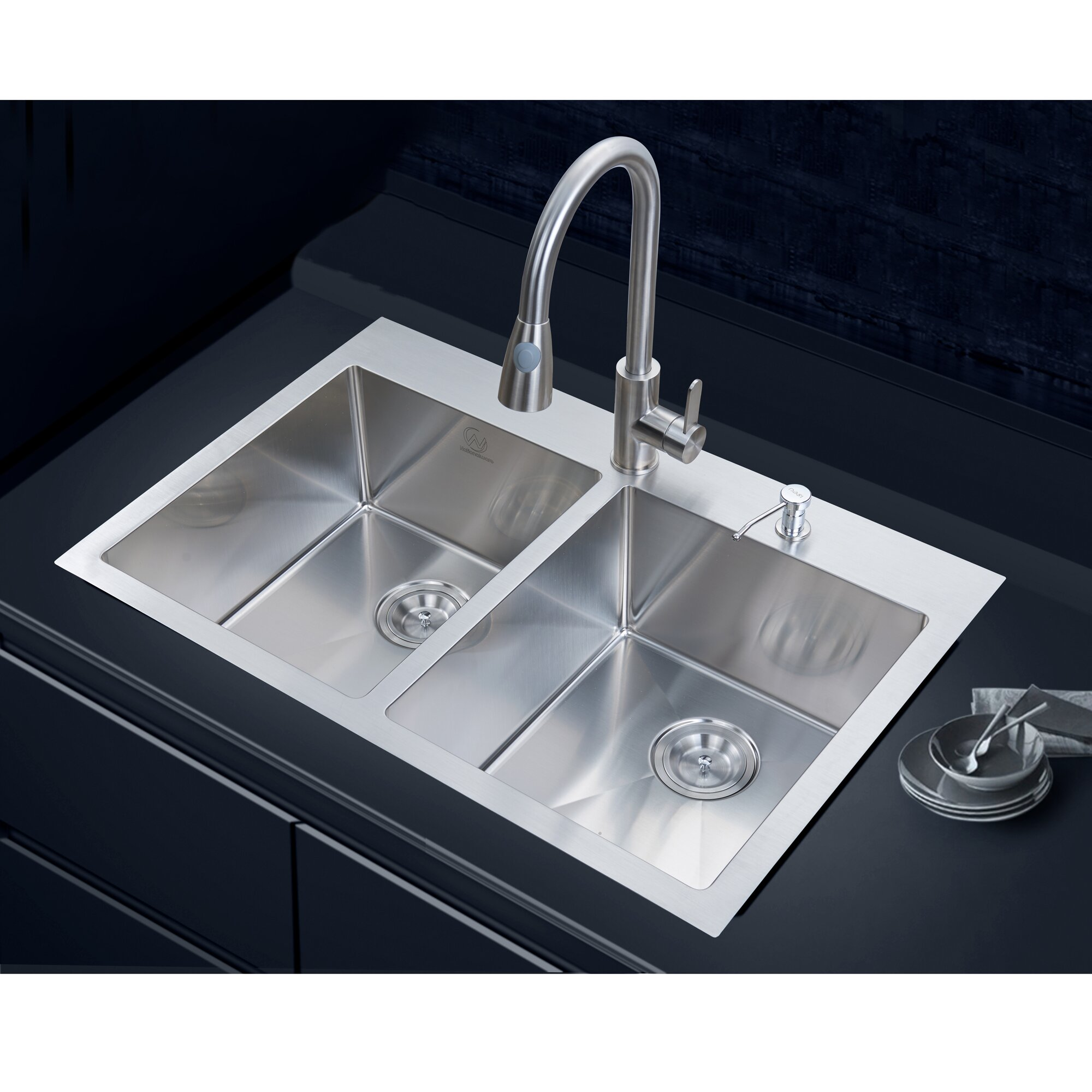 "Stufurhome 33"" x 22"" Overmount Kitchen Sink & Reviews"