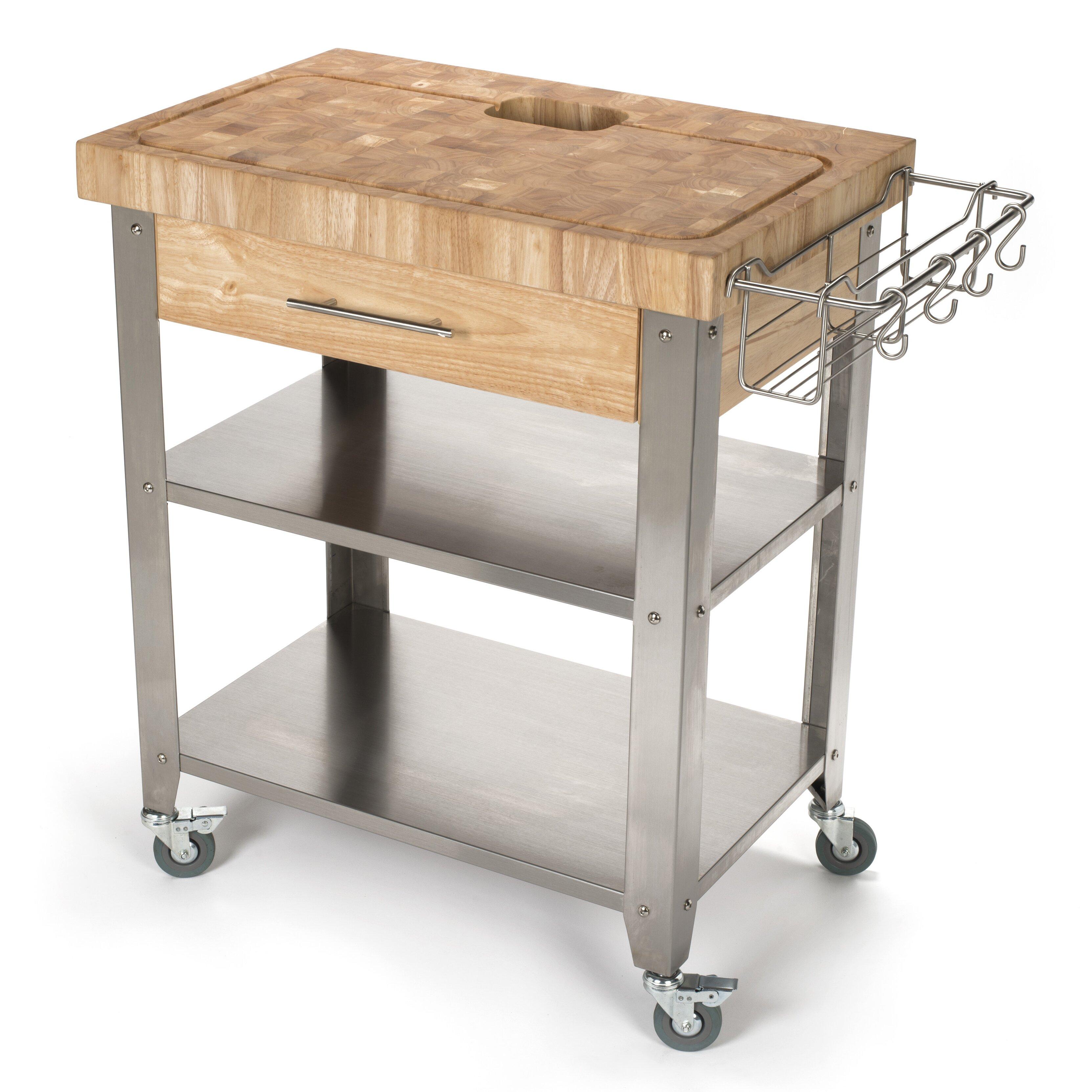 Chris & Chris Pro Stadium Kitchen Cart with Butcher Block