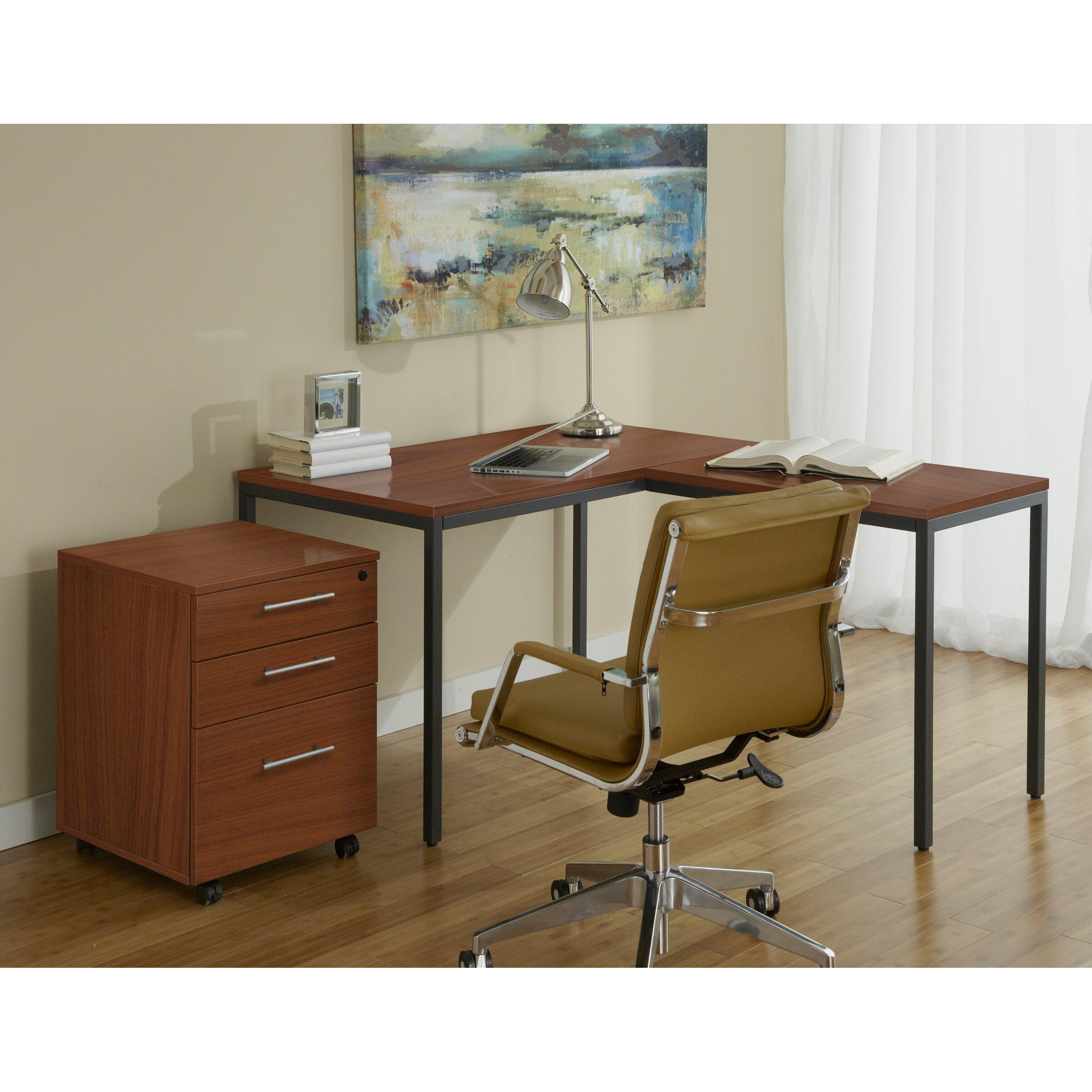 jesper office parson writing desk with file cabinet reviews wayfair. Black Bedroom Furniture Sets. Home Design Ideas