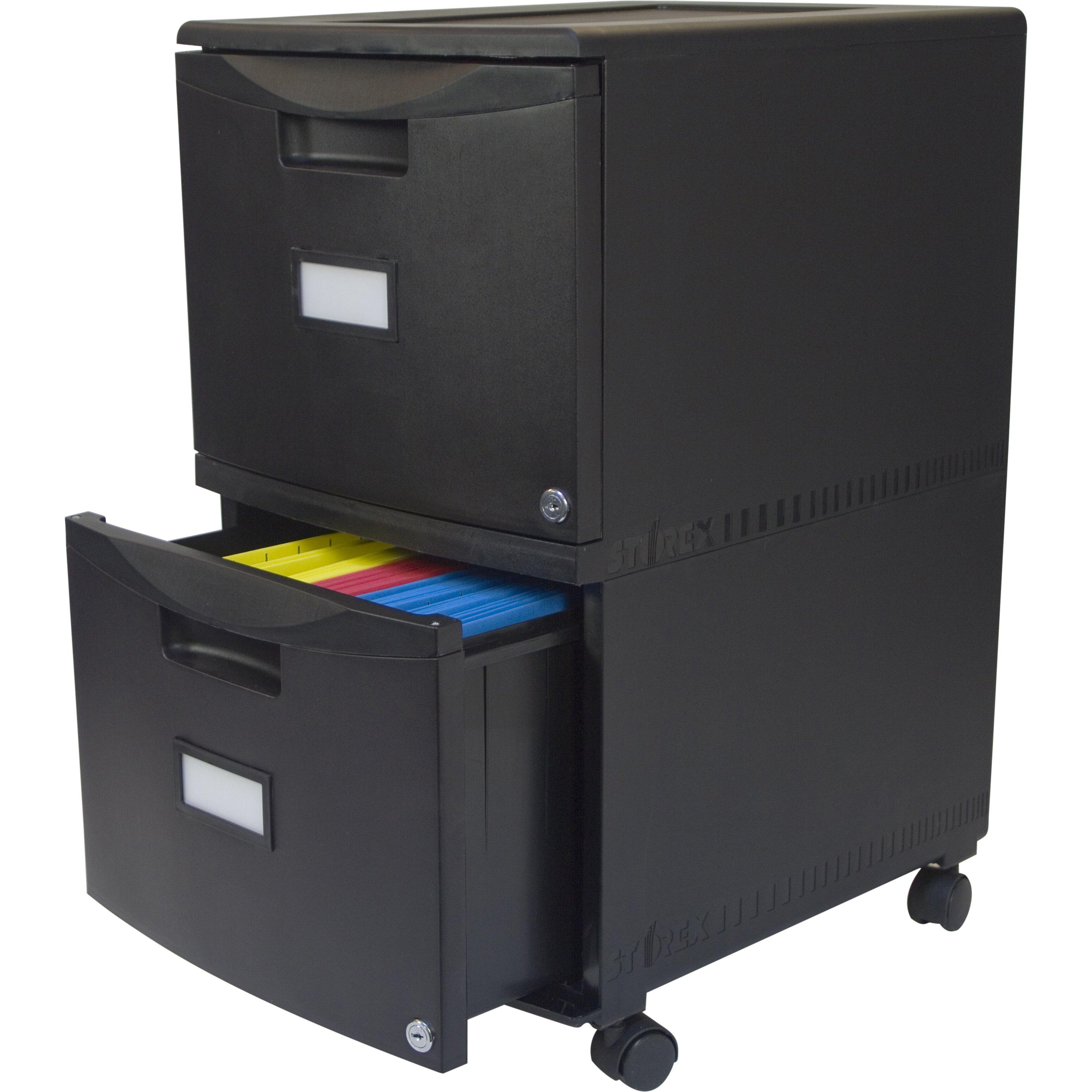 storex 2 drawer mobile file cabinet with lock reviews wayfair supply. Black Bedroom Furniture Sets. Home Design Ideas