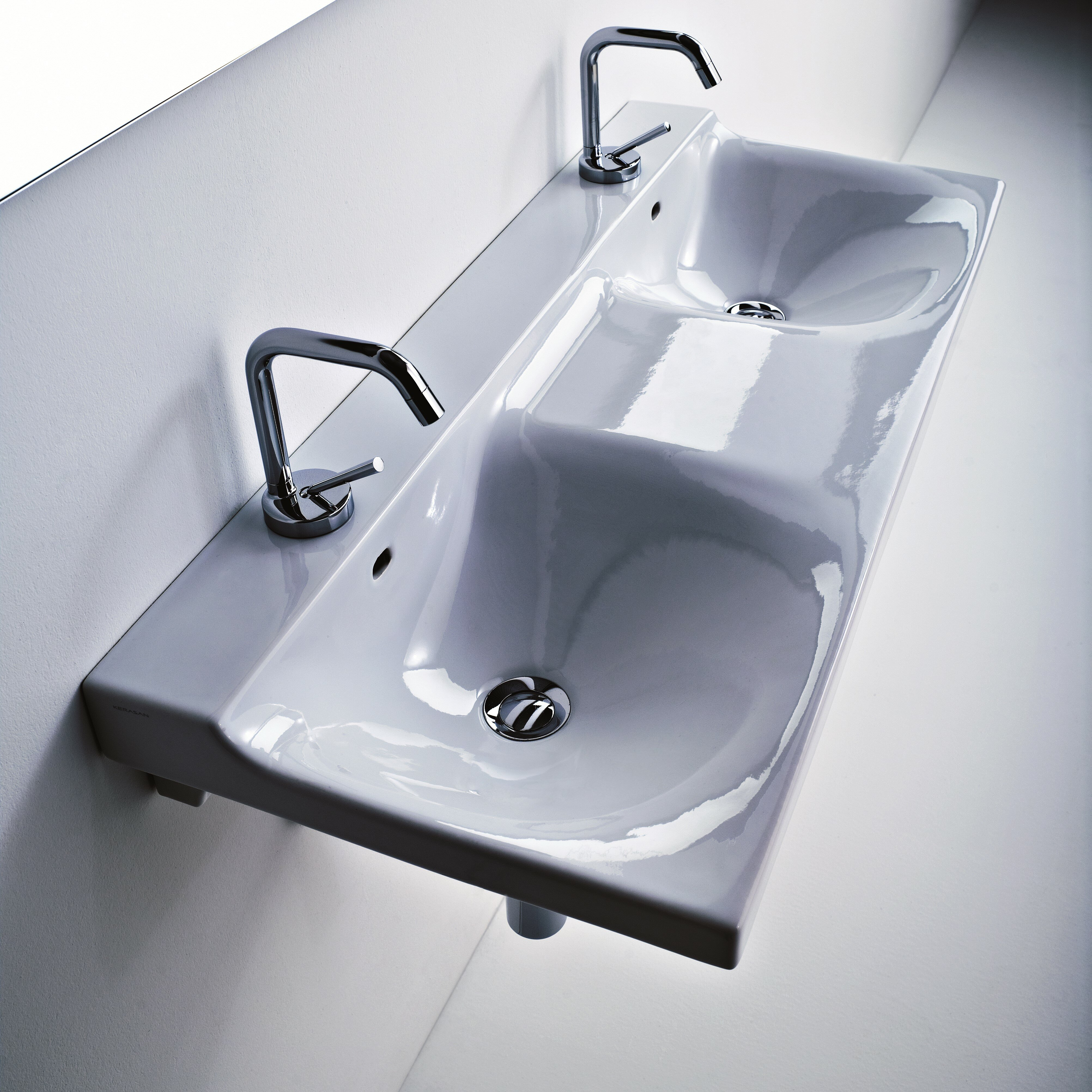Buddy Ceramic Wall Mounted Double Bathroom Sink by WS Bath Collections