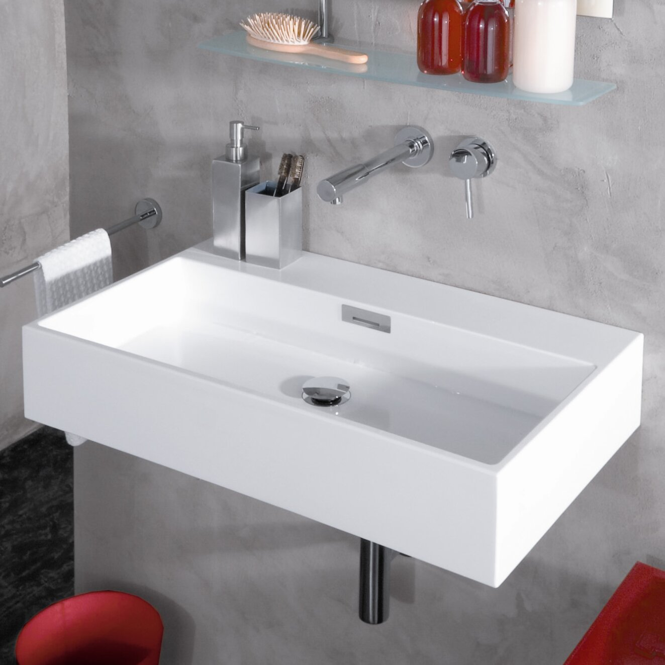WS Bath Collections Modern Wall Mounted Vessel Bathroom