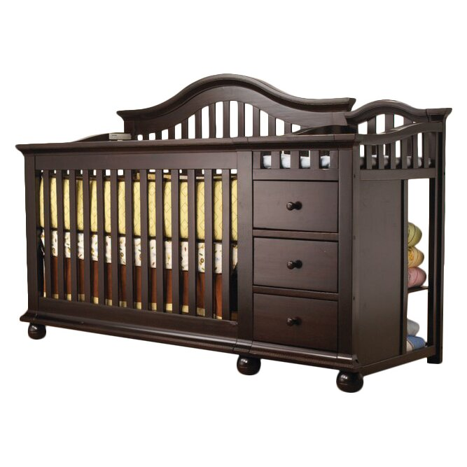 gallery for convertible crib with changing table attached