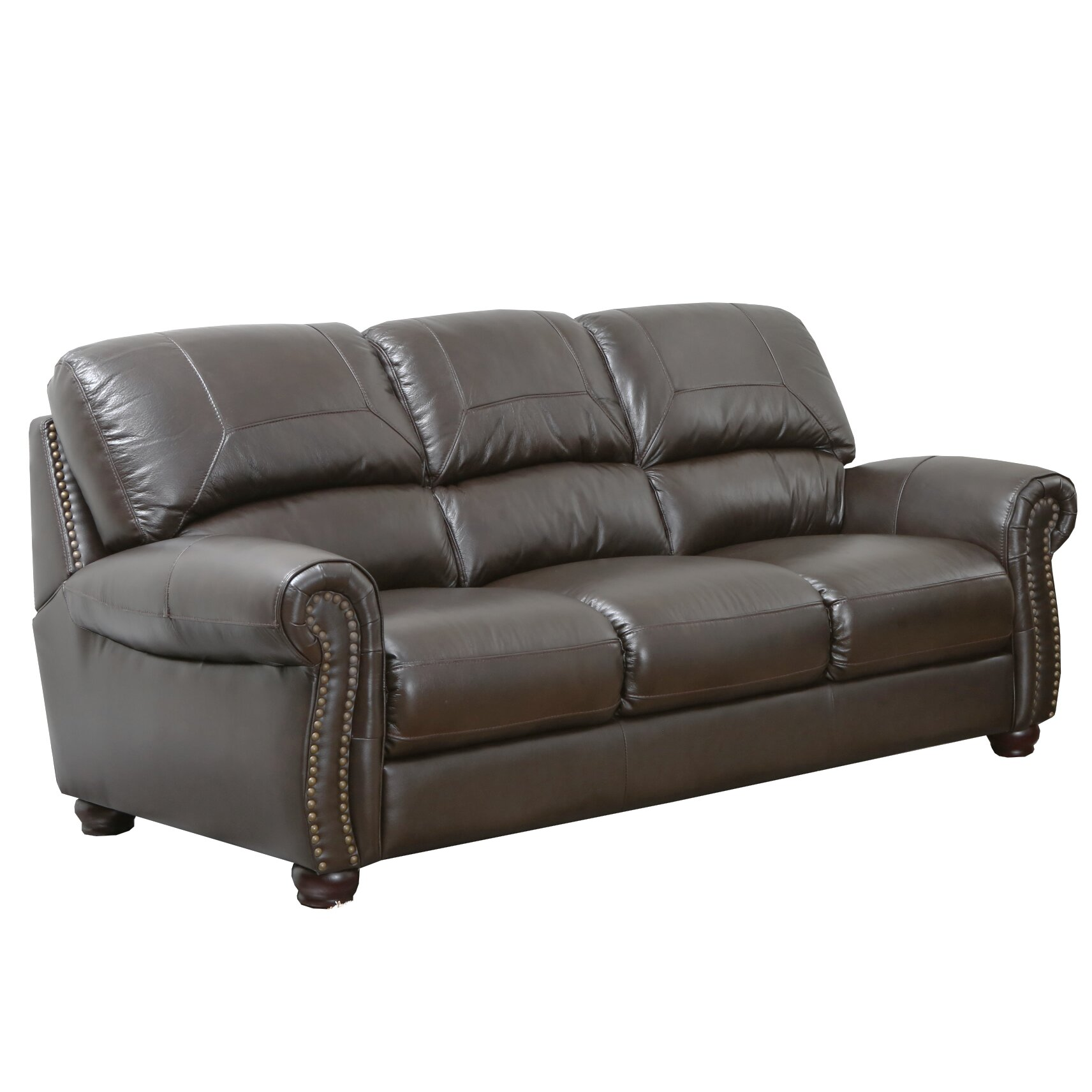 abbyson living broadway leather sofa reviews wayfair
