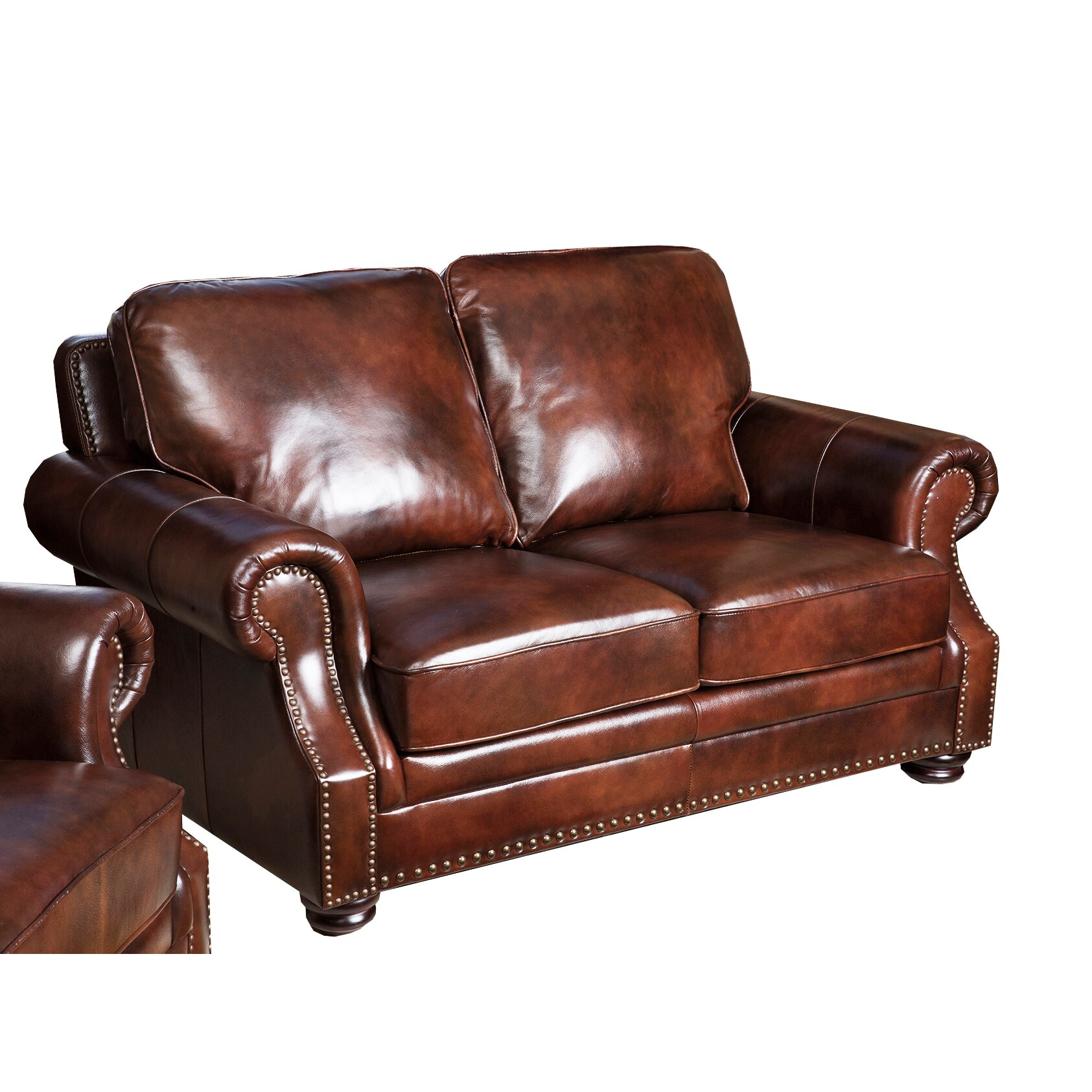abbyson living karington leather loveseat reviews wayfair