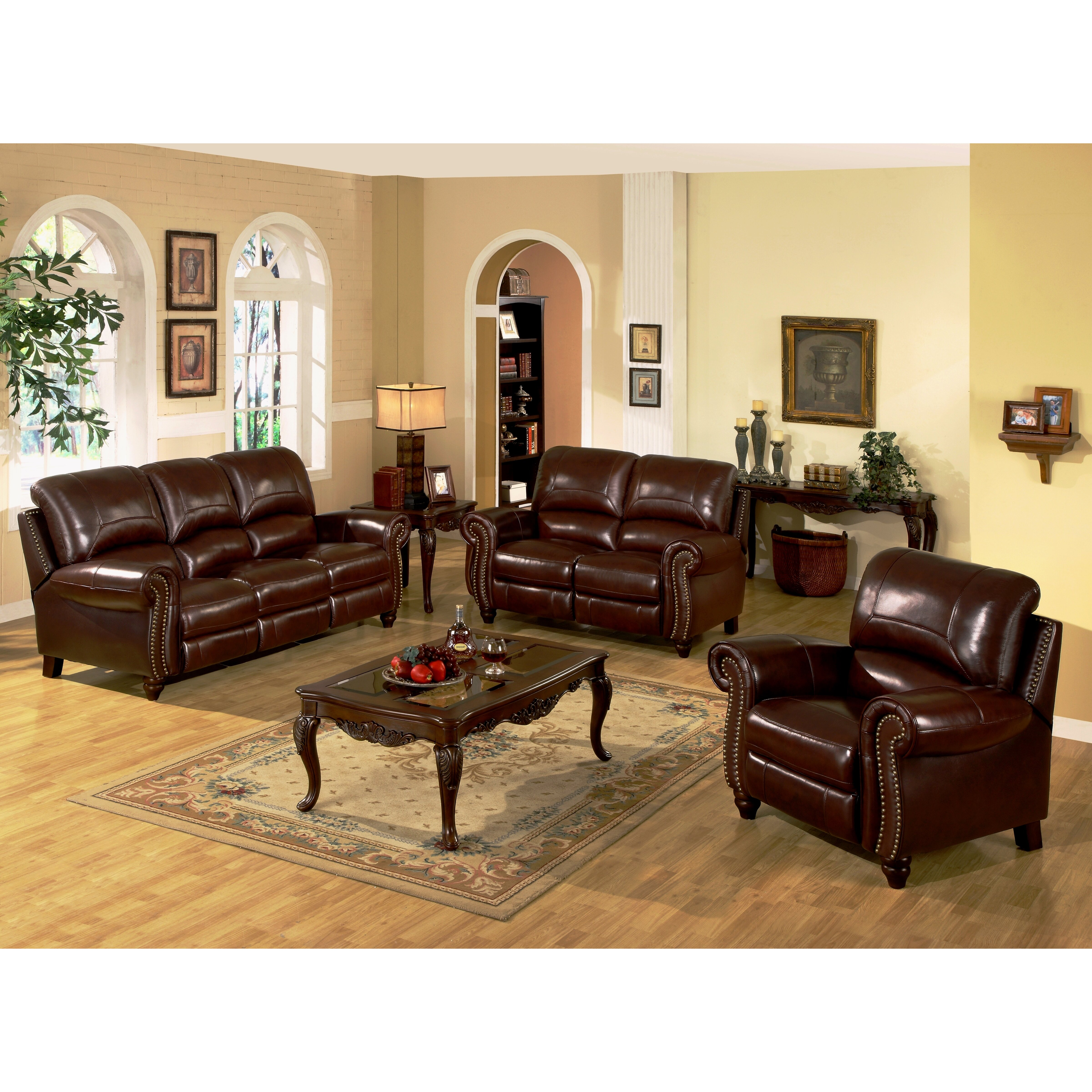 Leather Sectional Sofas Charlotte Nc: Abbyson Living Charlotte Leather Reclining Sofa & Reviews