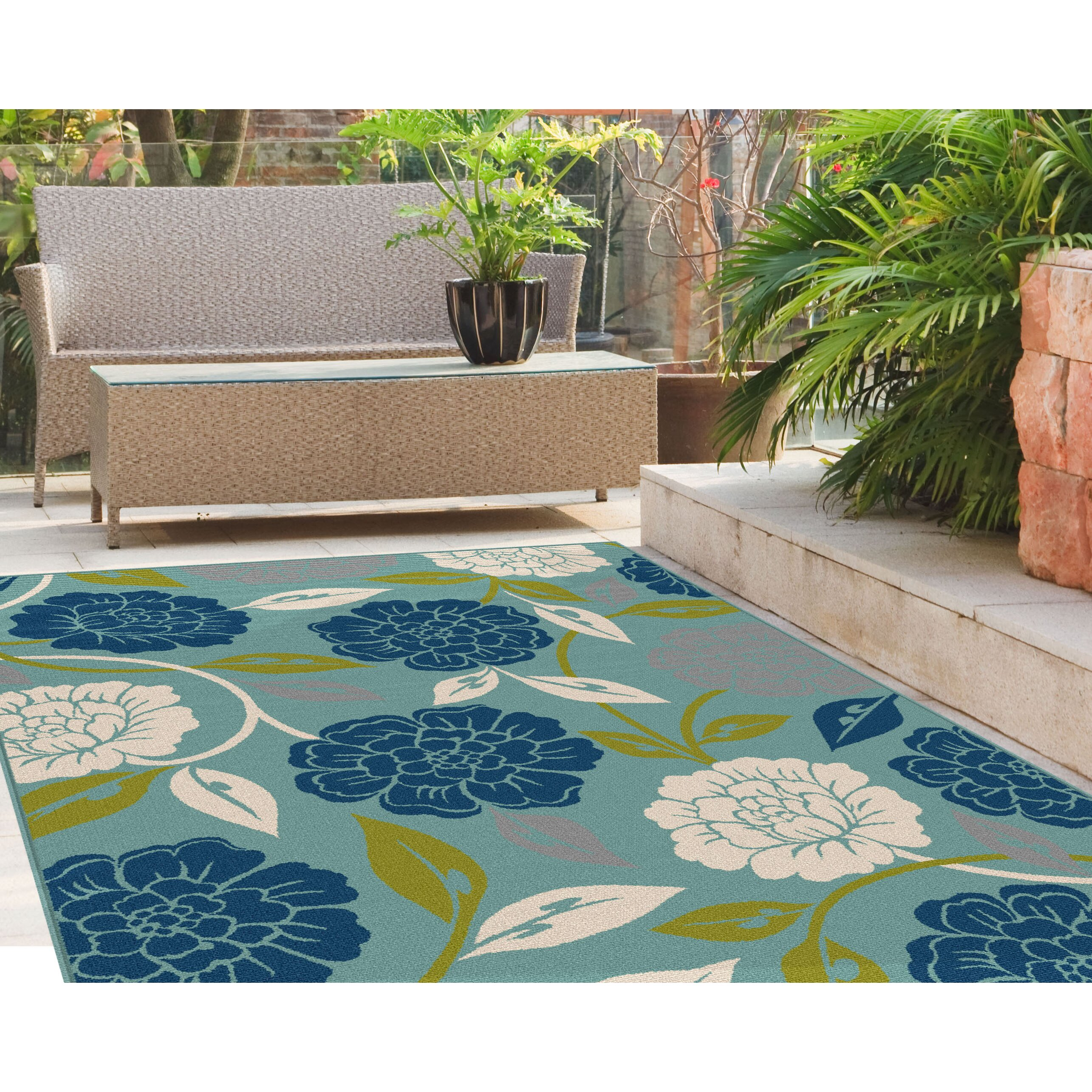 TayseRugs Garden City Aqua Indoor / Outdoor Area Rug ...