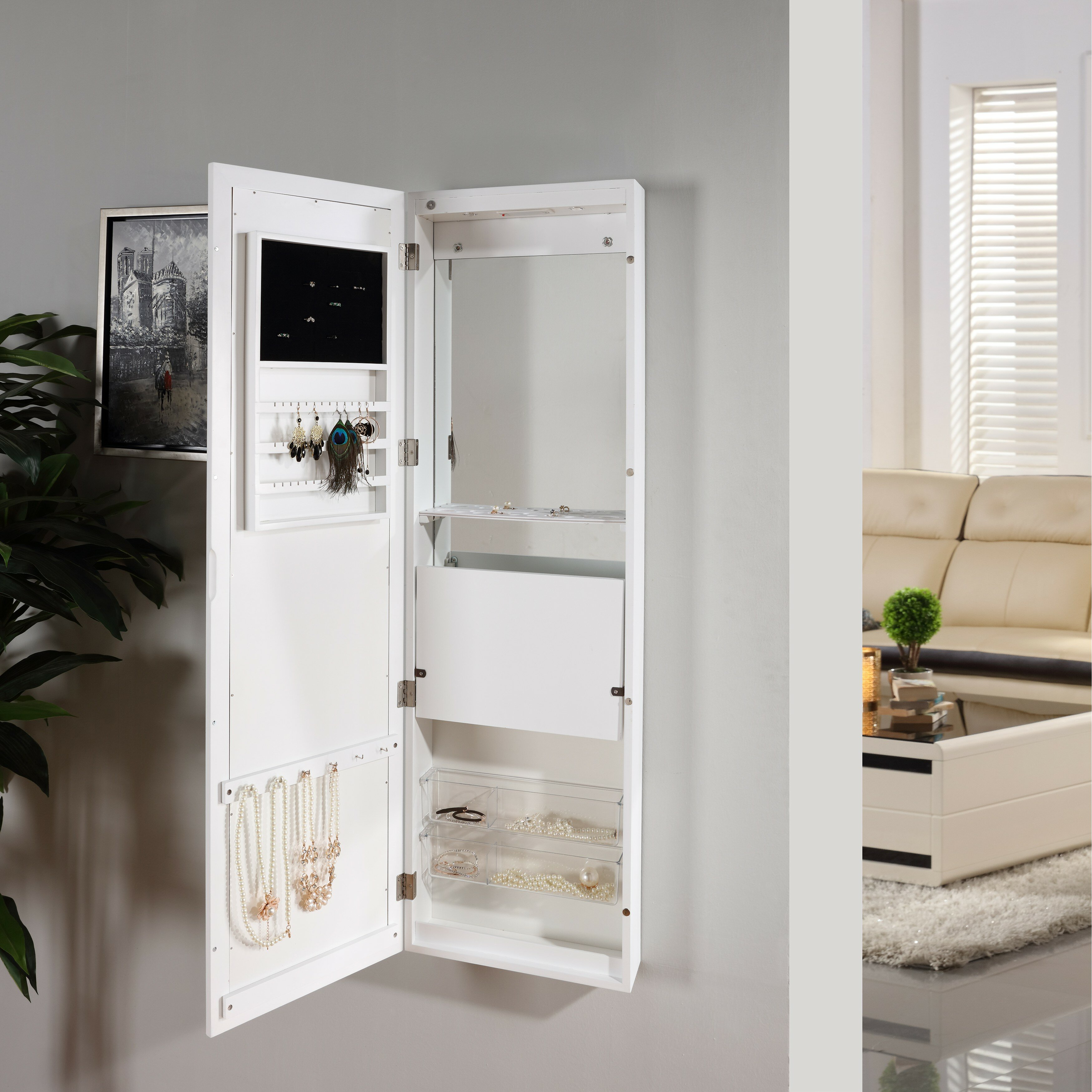 Jewelry and Makeup Cabinet Over the Door Jewelry Armoire ...