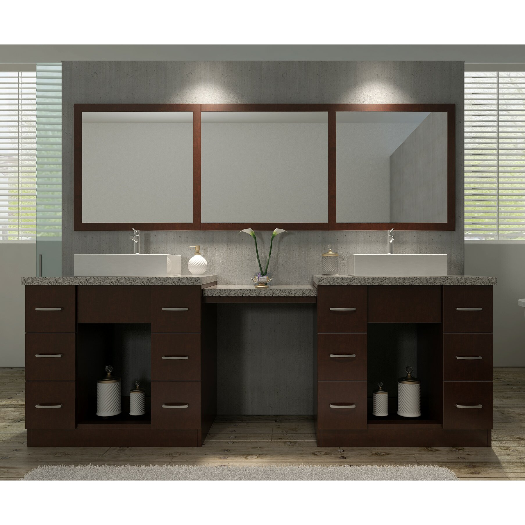 bath roosevelt 97 double sink vanity set with mirror and makeup table