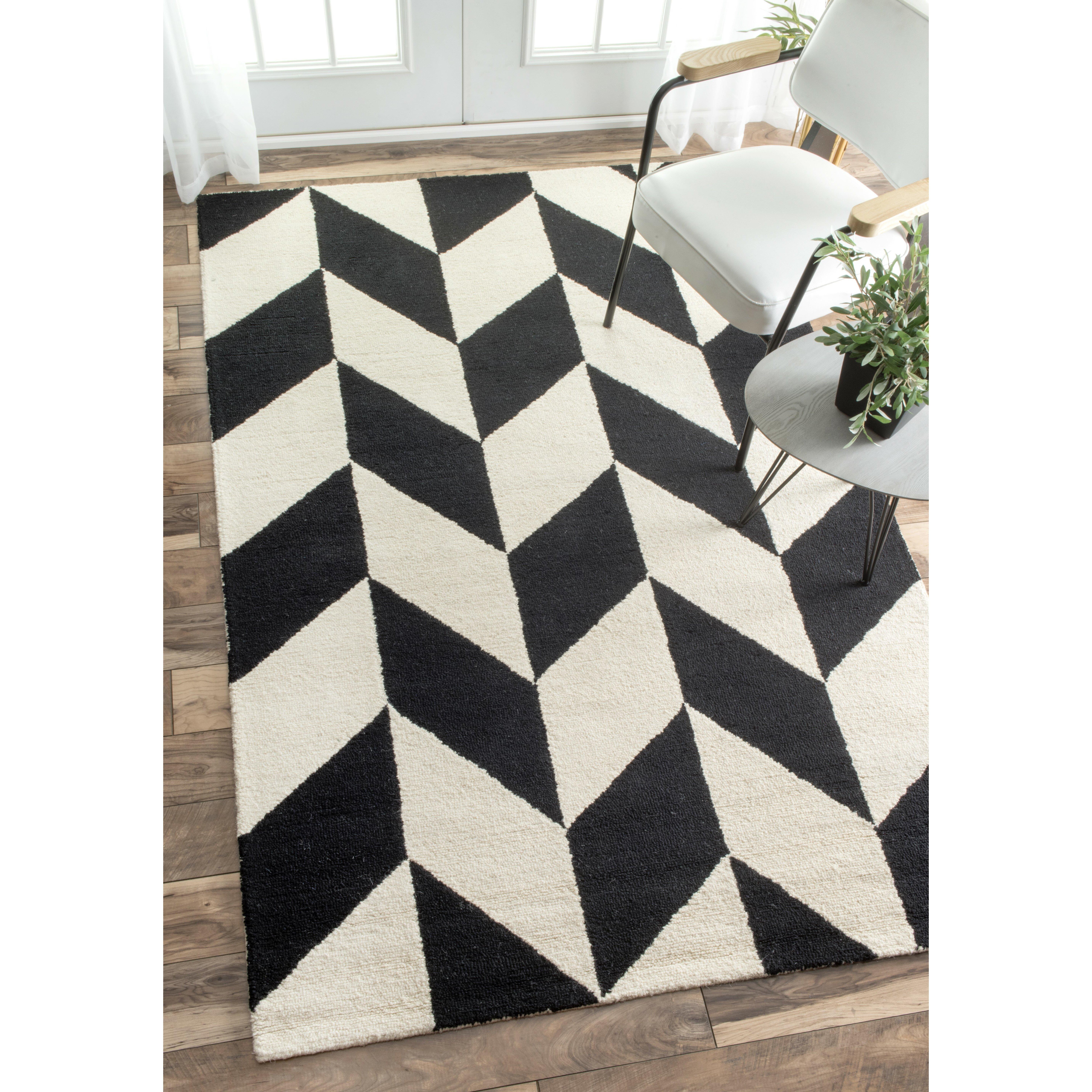 Nuloom Black And White Rug: NuLOOM Katte Hand-Tufted Black/White Indoor Area Rug