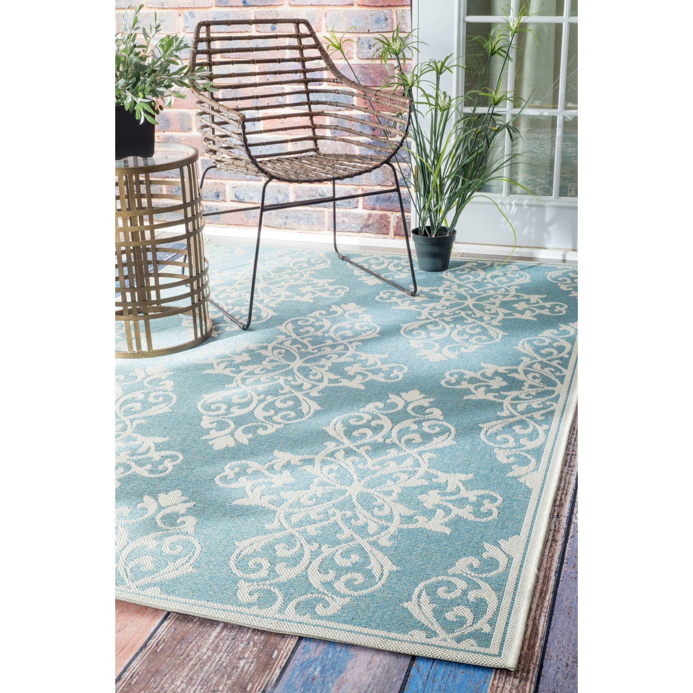 Nuloom Crandall Turquoise Area Rug Reviews: NuLOOM Bivins Turquoise Indoor/Outdoor Area Rug & Reviews