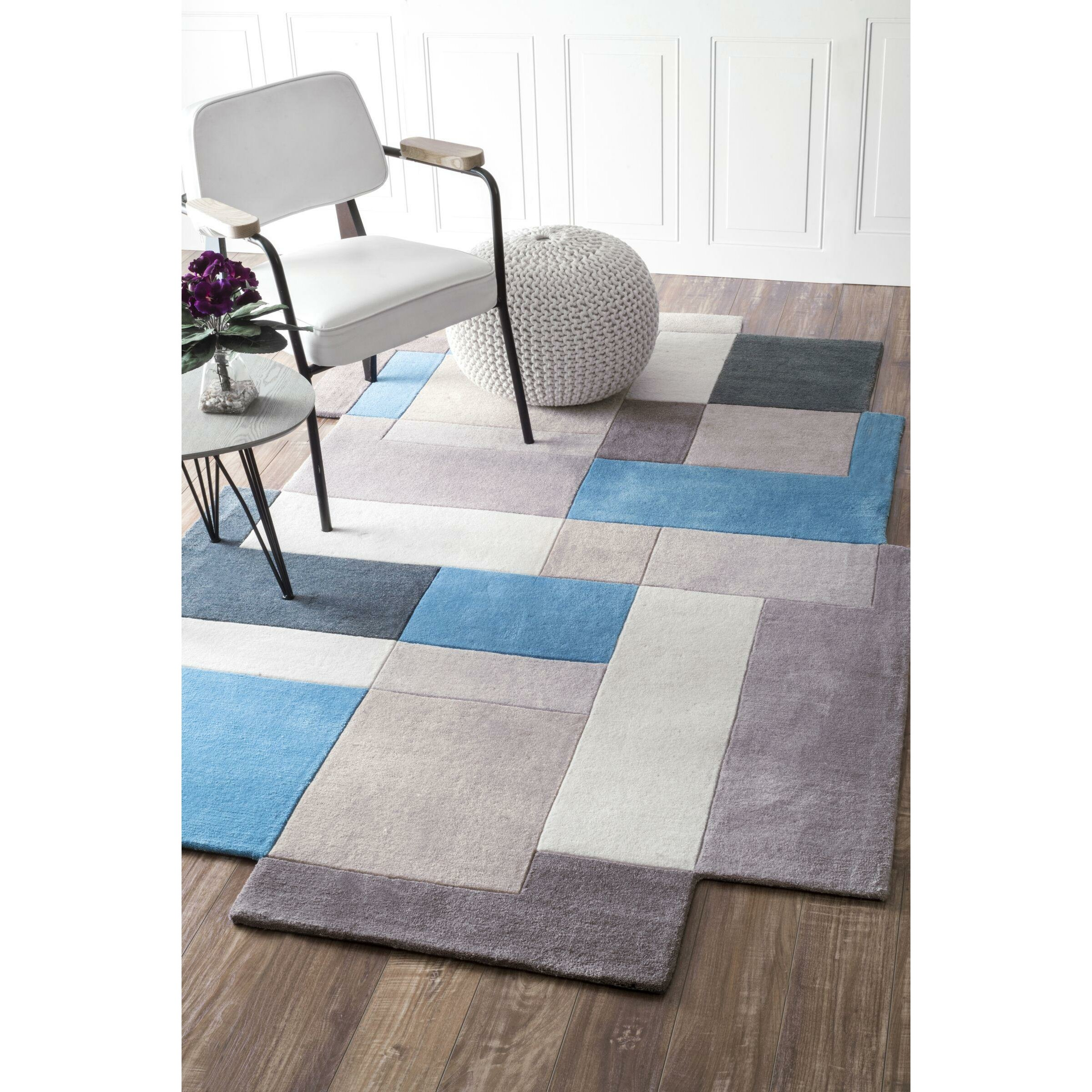 nuloom shaped hand tufted blue area rug on popscreen