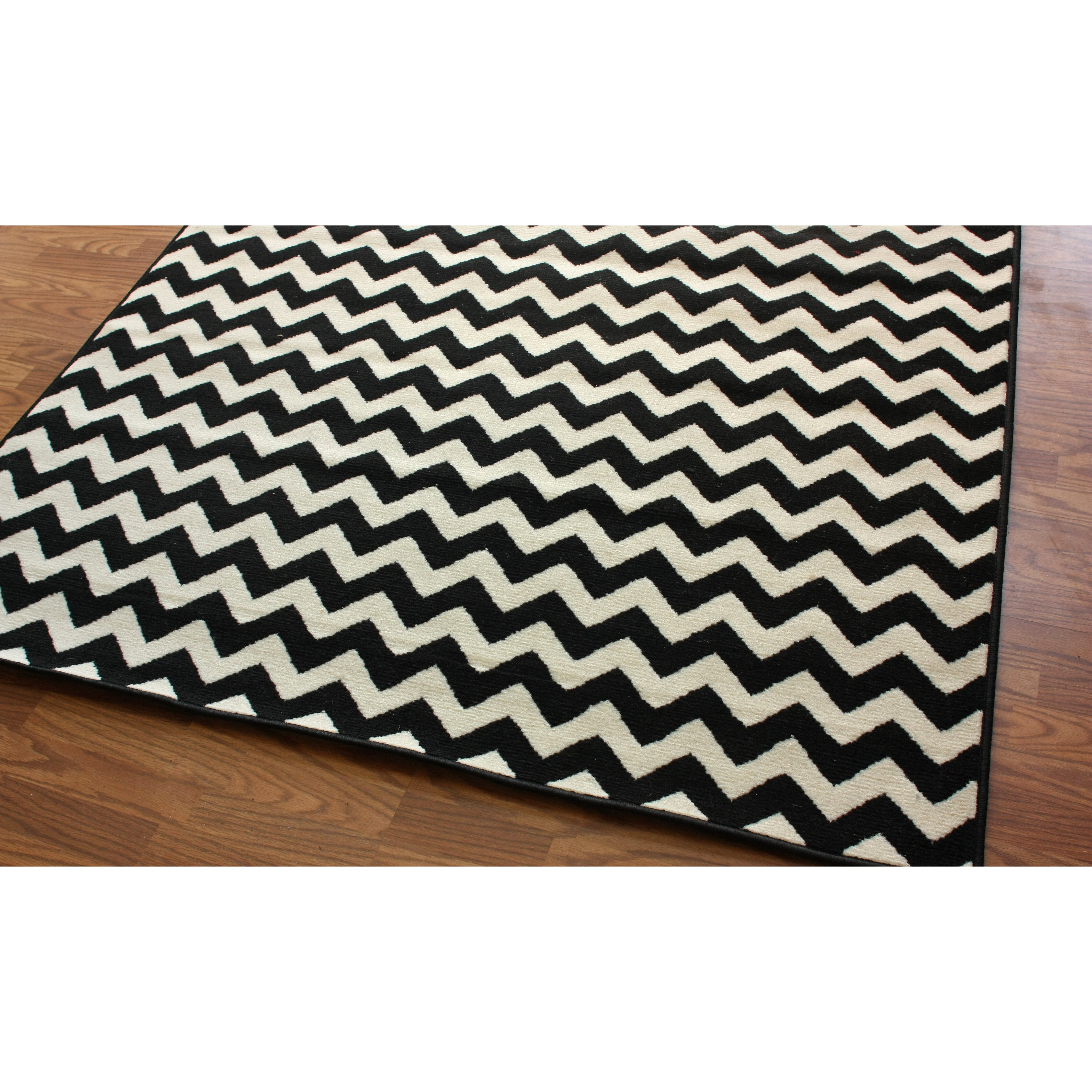 Chevron Accent Rug: NuLOOM Kinder Chevron Ivory/Black Area Rug & Reviews