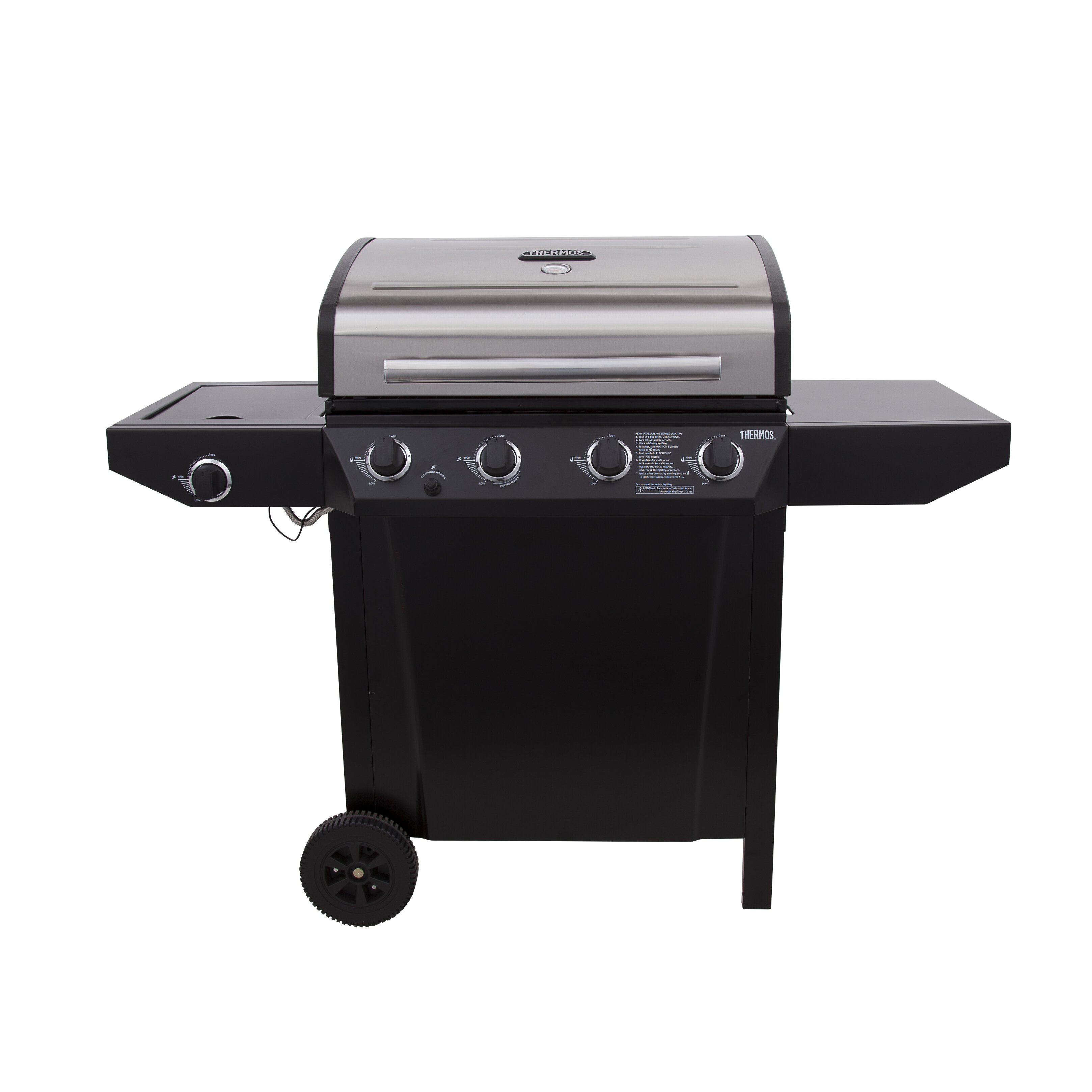 Sides On The Grill: CharBroil Thermos 4 Burner Gas Grill With Side Burner