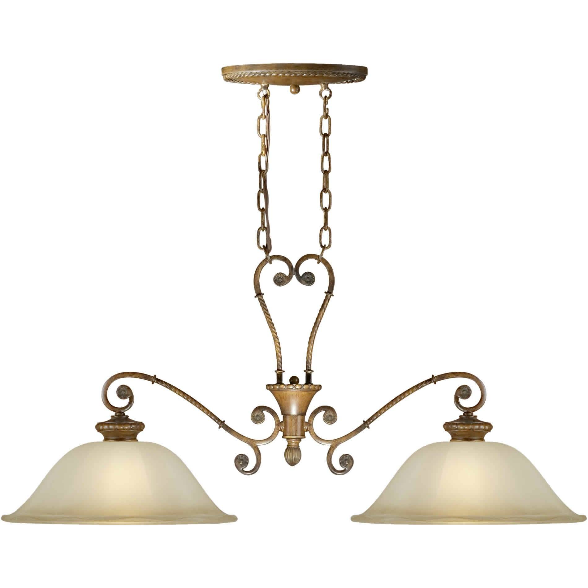 Two Light Island Pendant With Umber Shade In Rustic Sienna