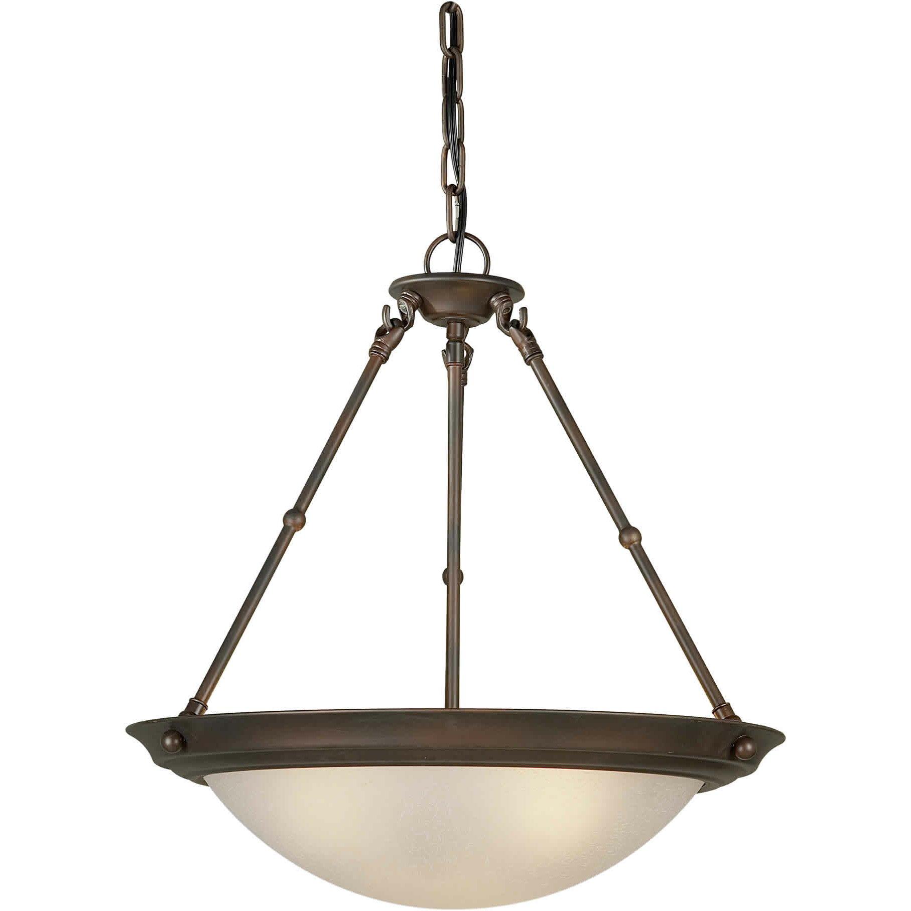forte lighting 3 light bowl inverted pendant reviews wayfair. Black Bedroom Furniture Sets. Home Design Ideas
