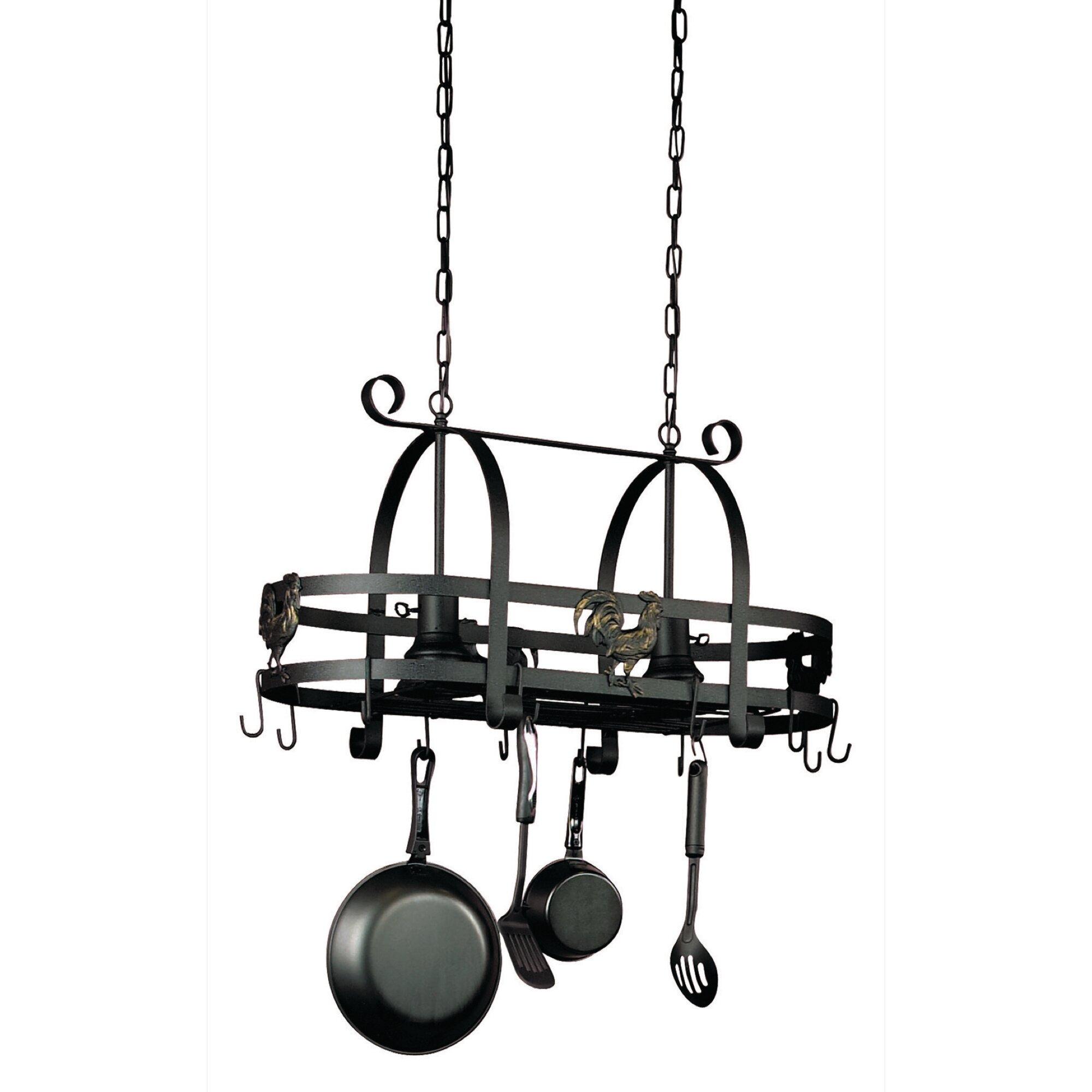 lighting pot racks hanging kitchen island with 2 light pendant. Black Bedroom Furniture Sets. Home Design Ideas