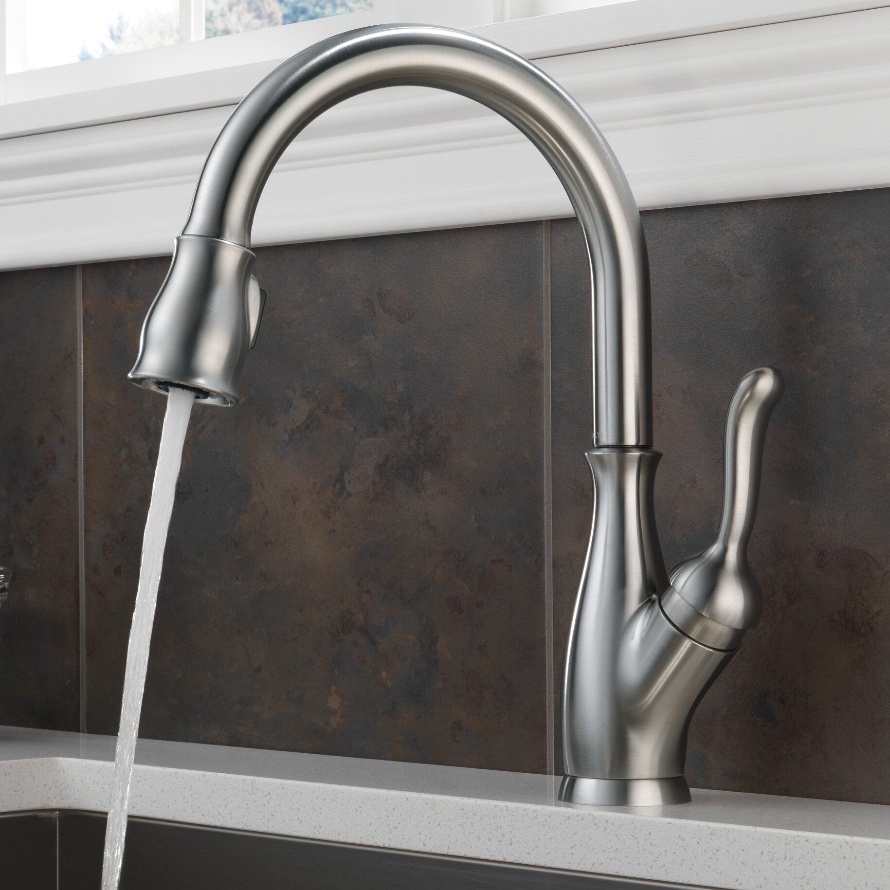 Delta Leland Single Handle Deck Mount Kitchen Faucet Reviews Wayfair