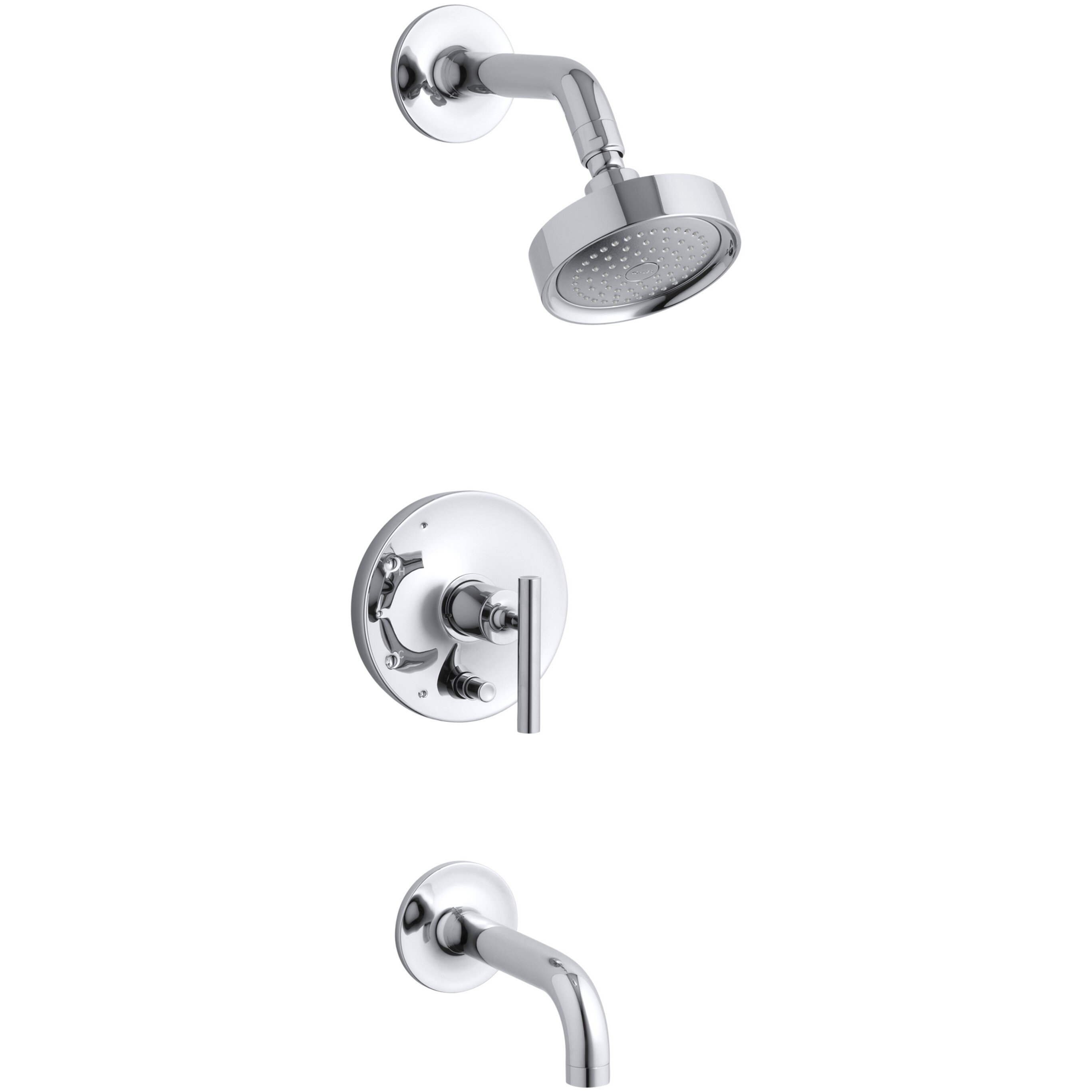 balancing bath and shower faucet trim with push button diverter 7 3 4