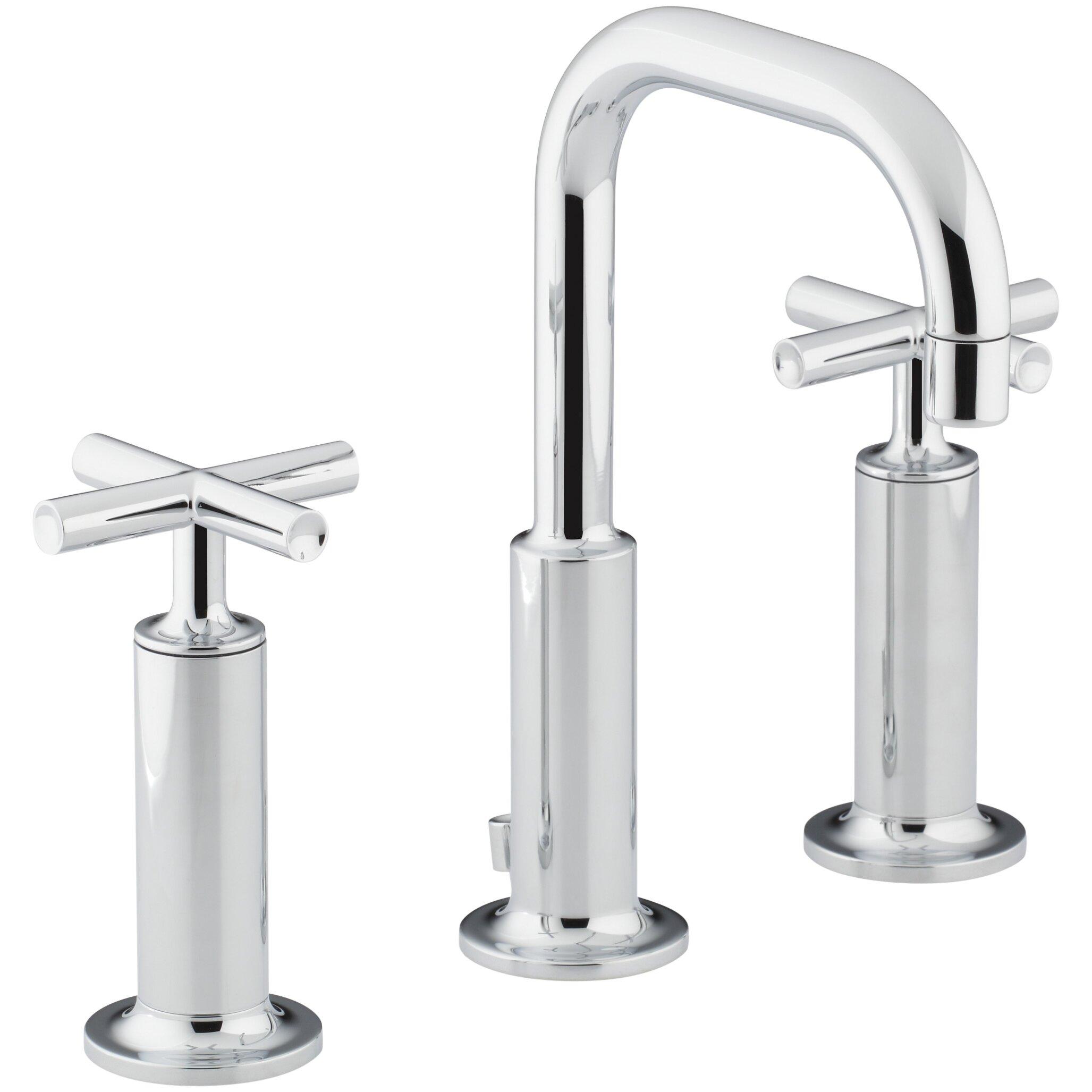 Kohler purist widespread bathroom sink faucet with high for Kohler bathroom sink faucets widespread